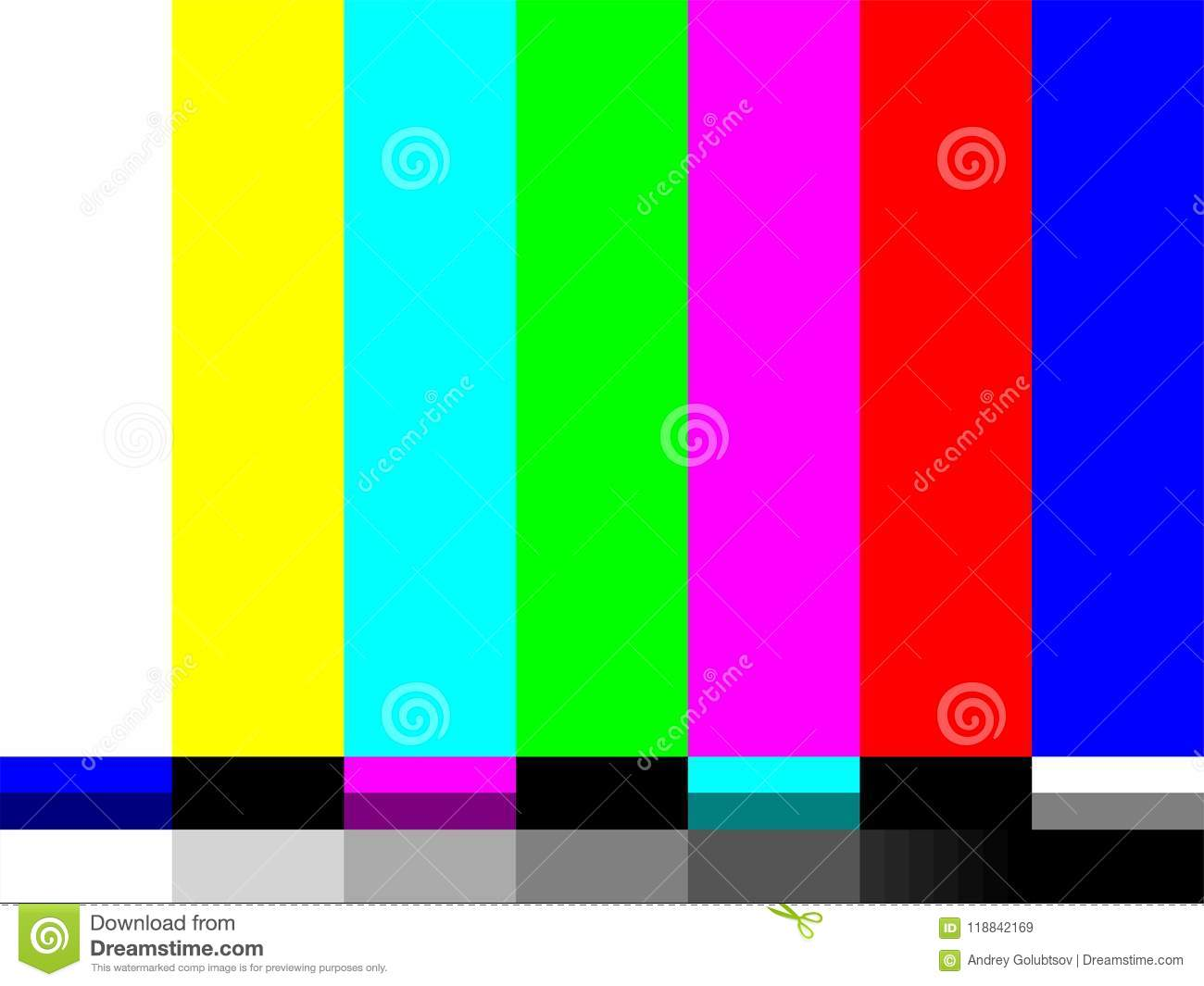 No Signal Tv Test Card Of Vector Color Bars Stock Vector Illustration Of Show Screen 118842169