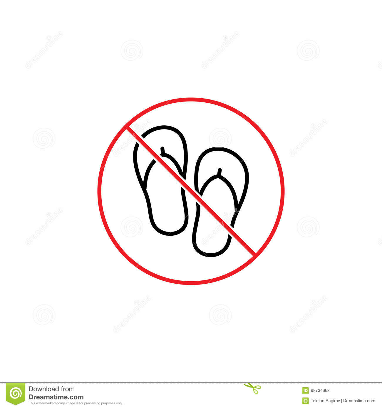 ae4ebdae8d5a3 Thin line no slipper sign on white background. More similar stock  illustrations