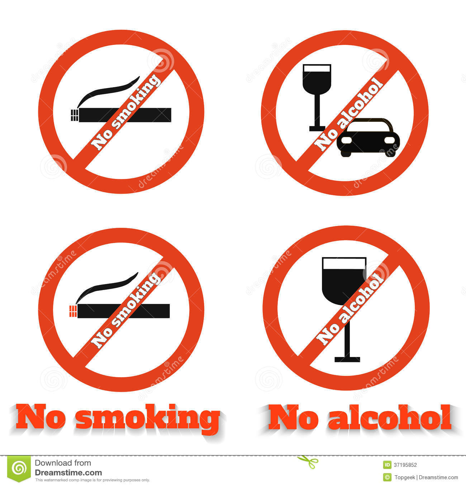 No smoking no alcohol stock vector  Illustration of