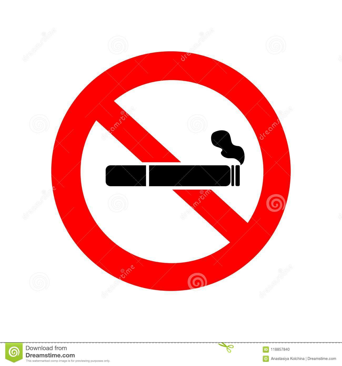 no smoking sign cigarette icon with filter and smoke in red crossed