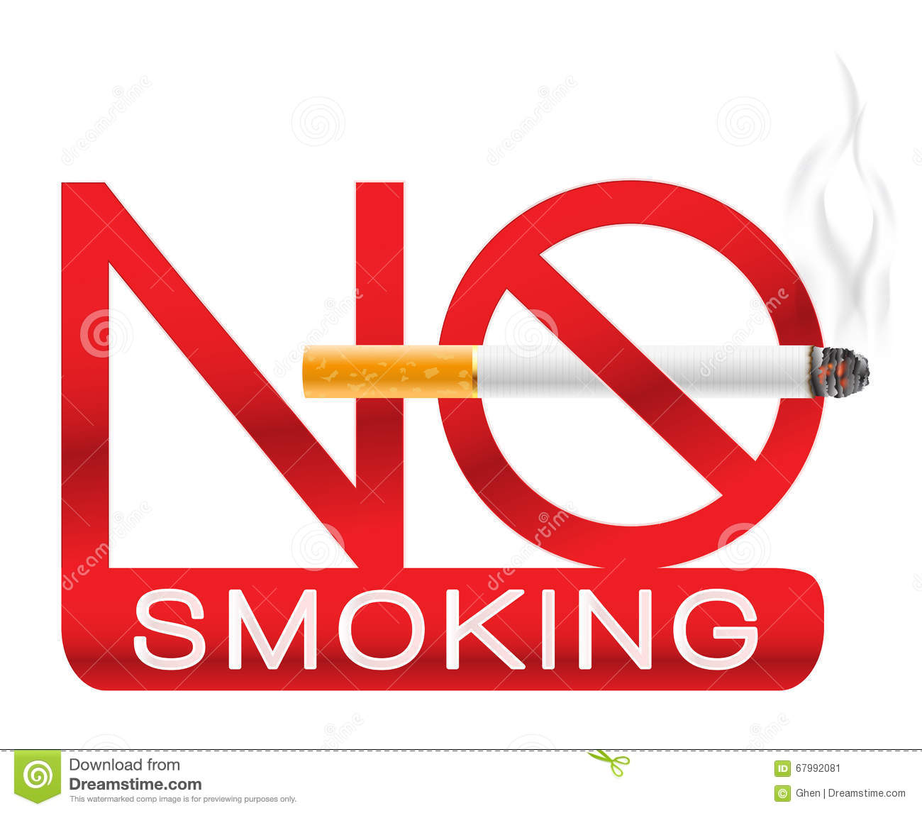 no smoking sign with cigarette and smoke stock vector illustration