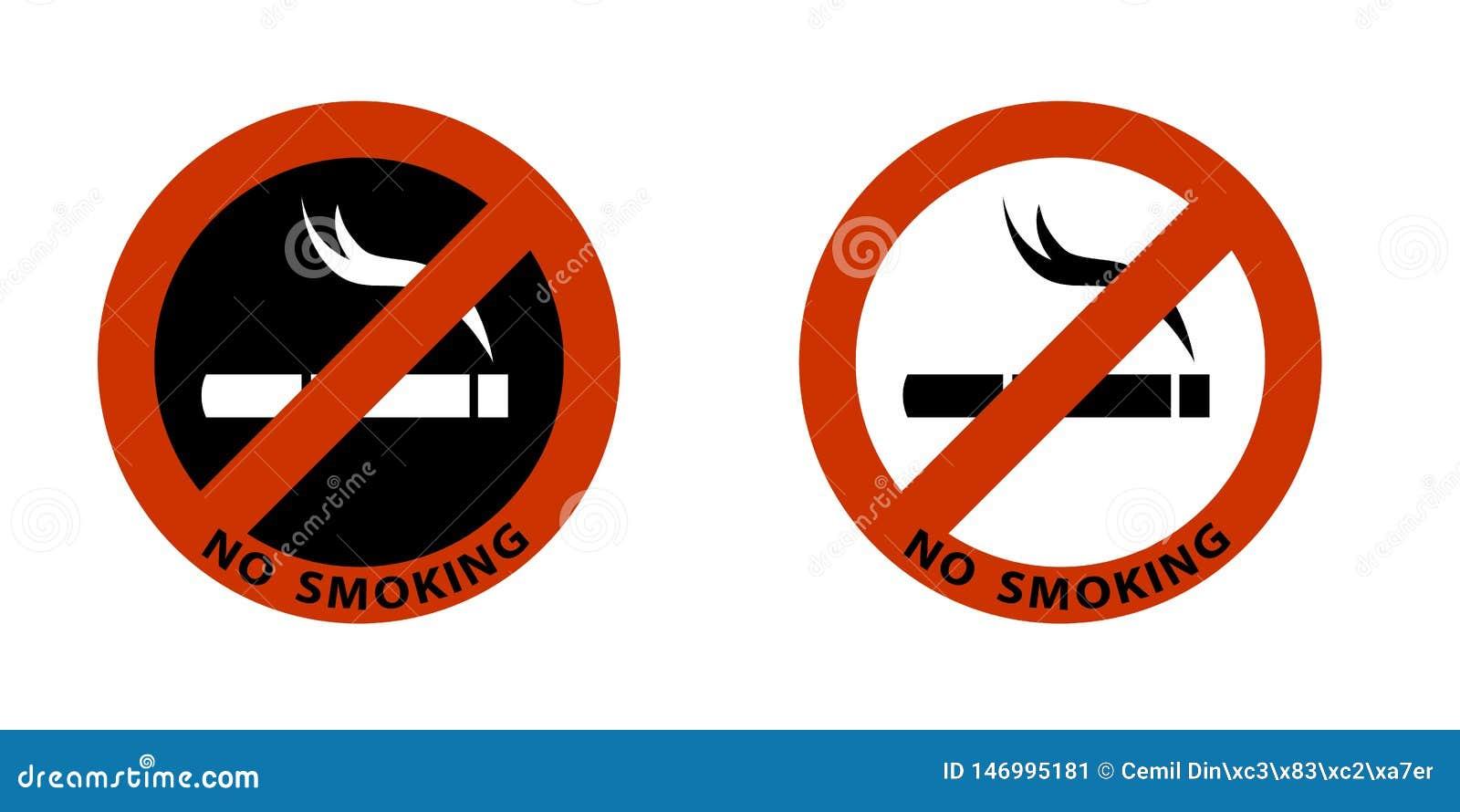 No smoking sign on white background icon