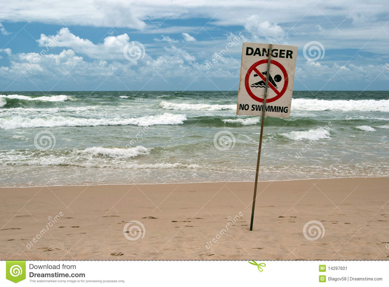 Download No swimming beach sign stock image. Image of swim, gold - 14297601