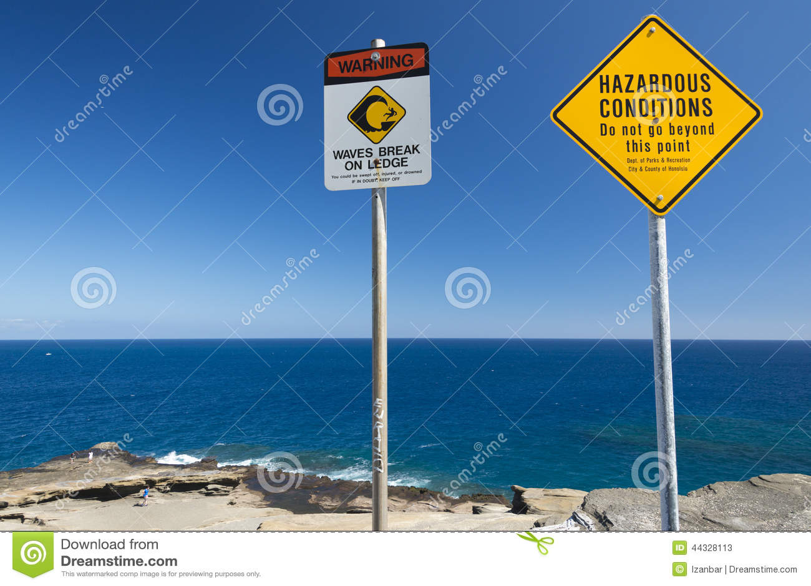 No swimming danger sign in hawaii