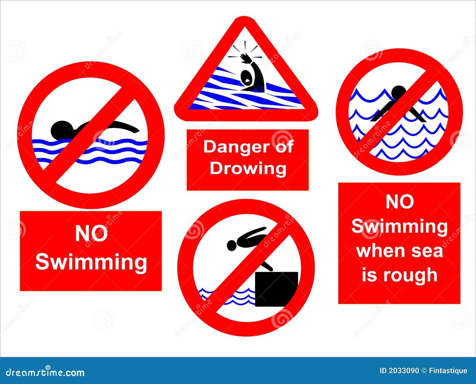 No Swimming Pool : No swimming signs stock illustration of