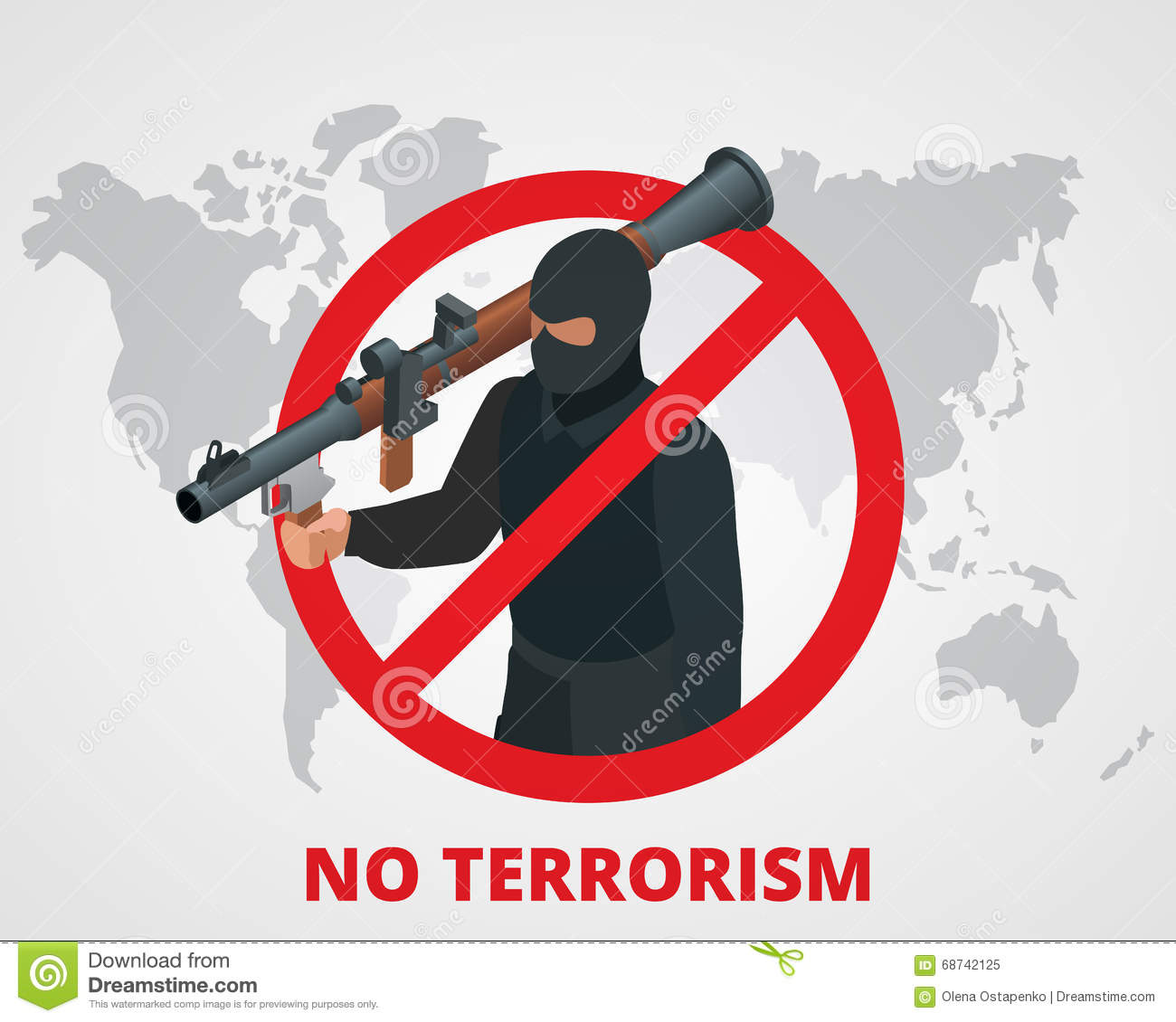 ... sign anti terrorism campaign badge on world map. Flat 3d illustration