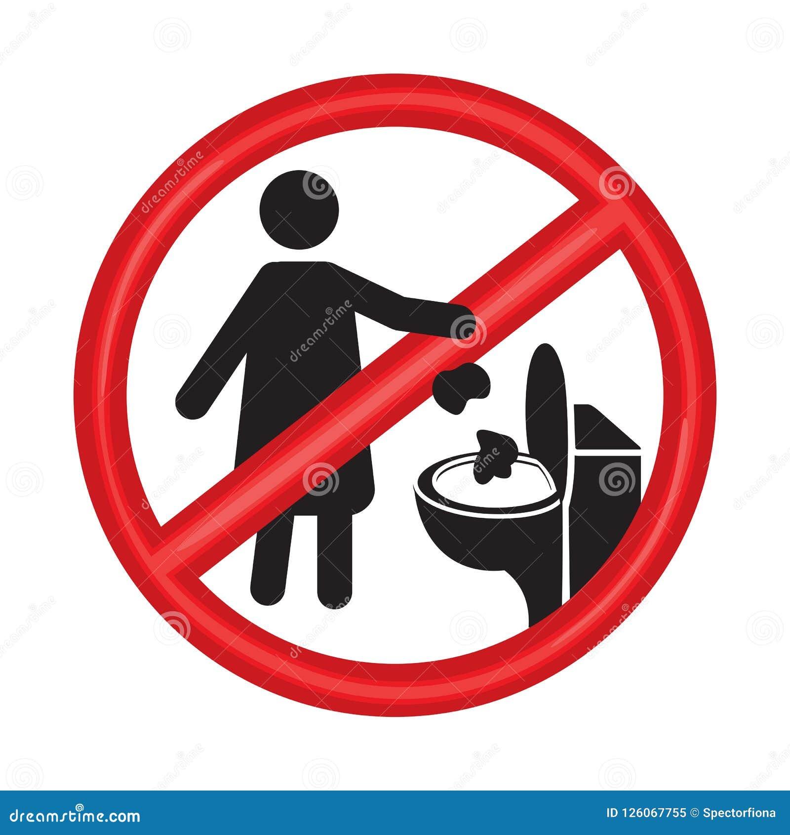 No Toilet Littering Sign Vector Illustration On White