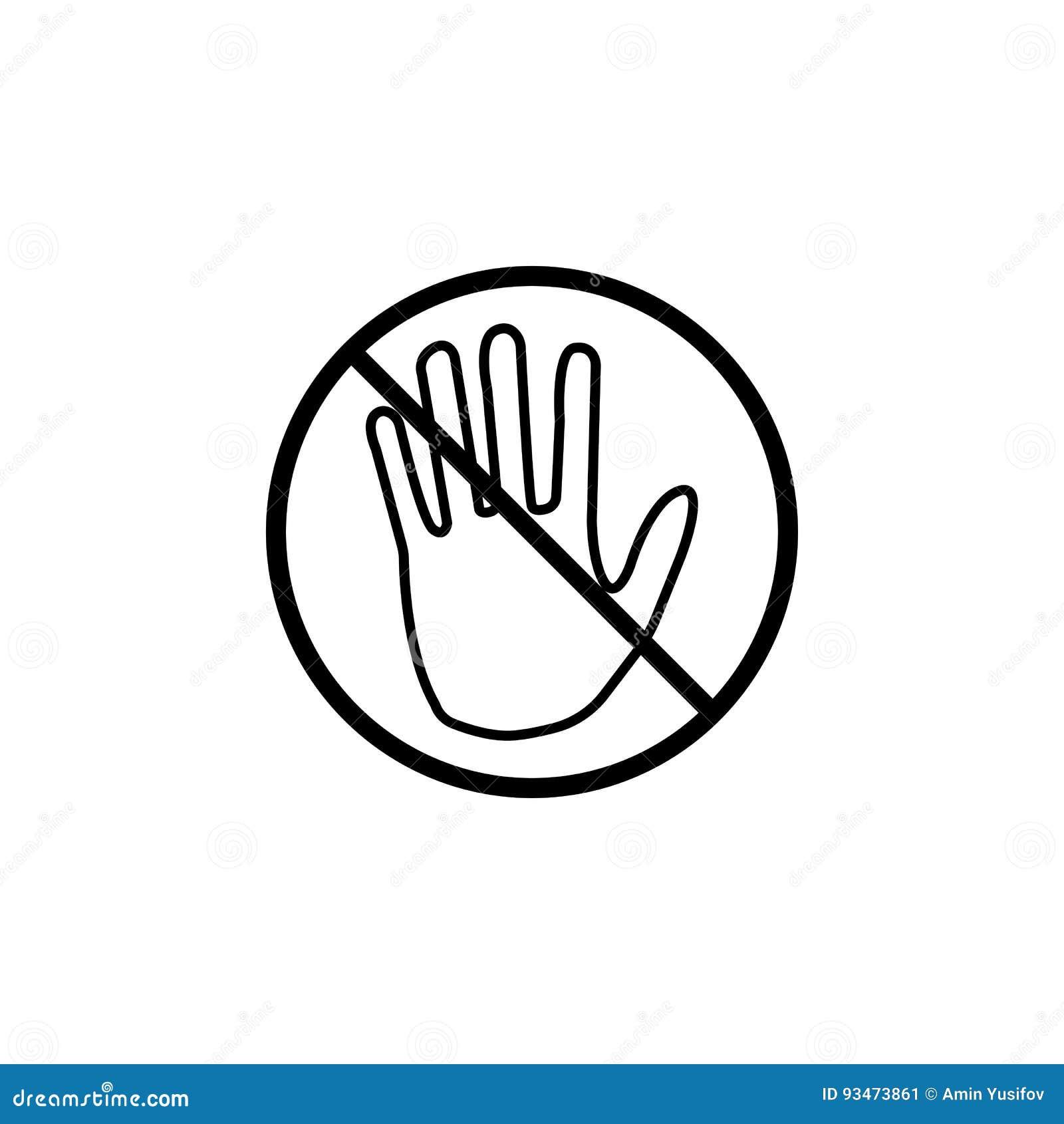 No toque la línea icono, ninguna muestra de la prohibición de la entrada