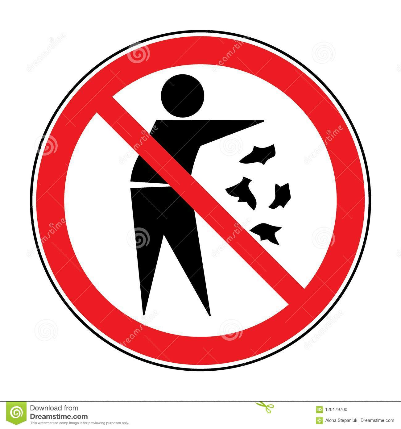 No Trash Sign Stock Vector Illustration Of Pictogram 120179700