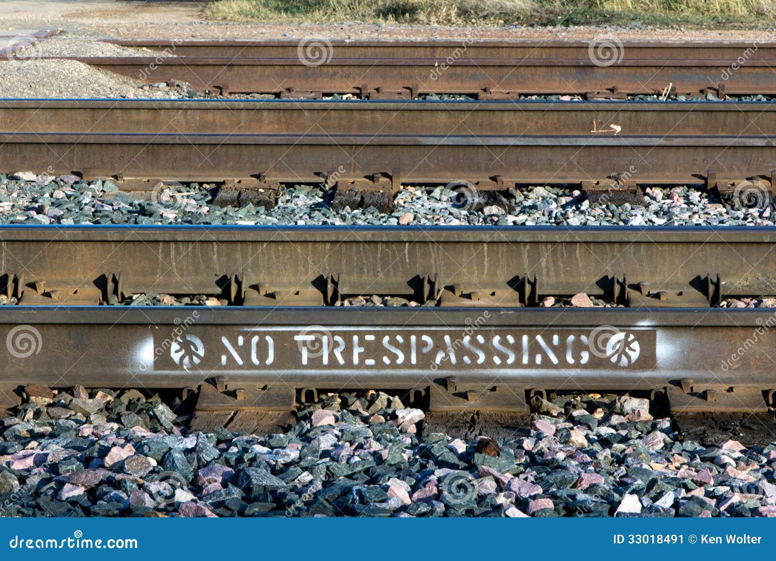 Railroad Tracks Marked Warn of No Trespassing.