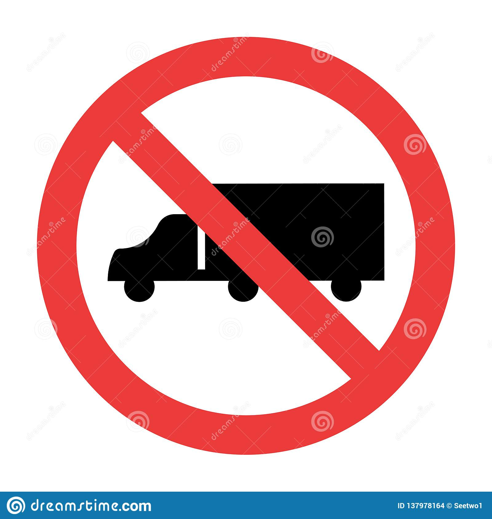 No Trucks Sign on white background