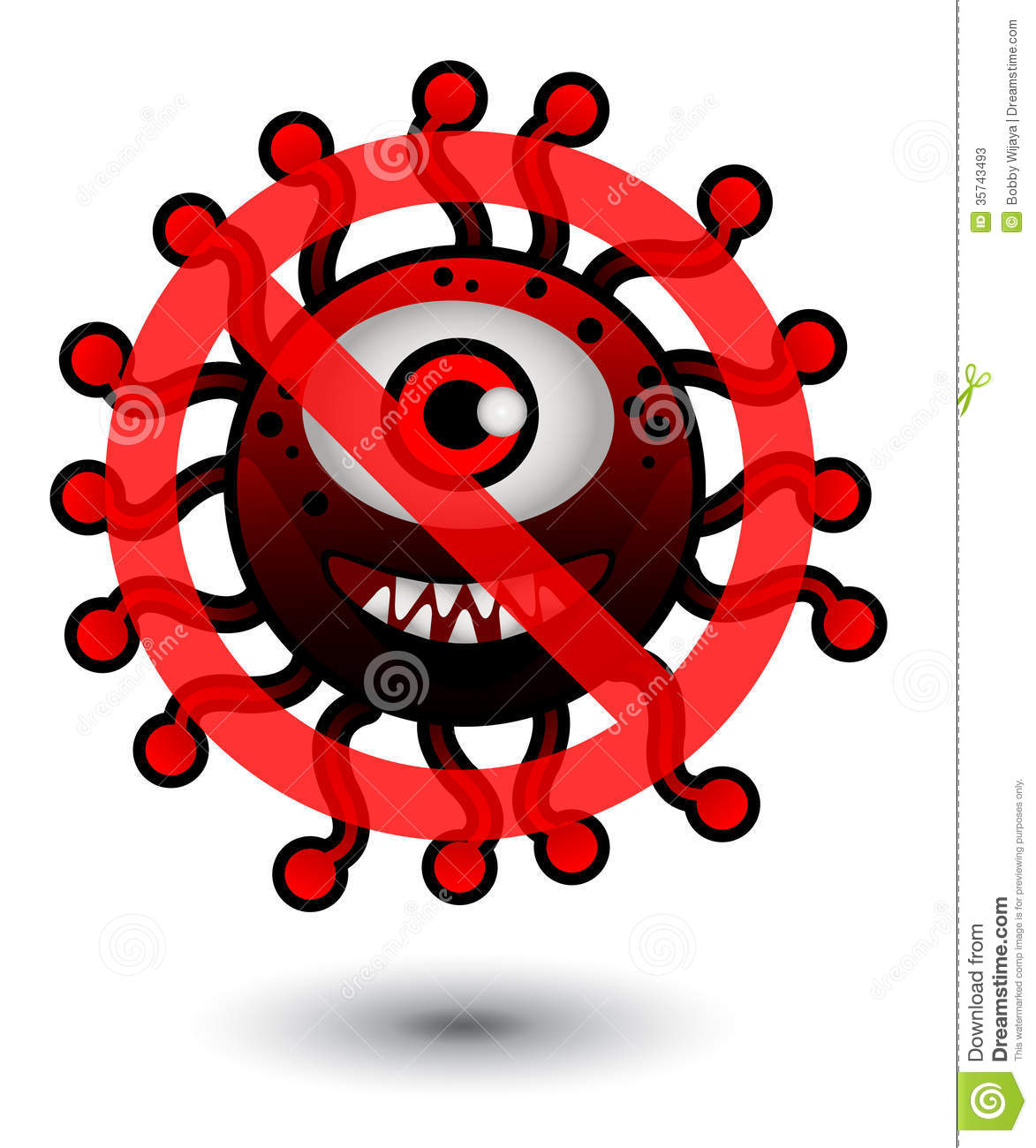 no virus cartoon illustration stock illustration