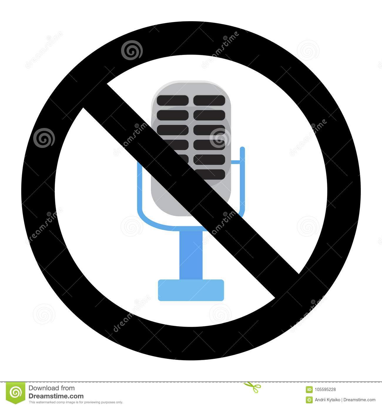 No Voice In Microphone, Ban Karaoke Badge Stock Vector