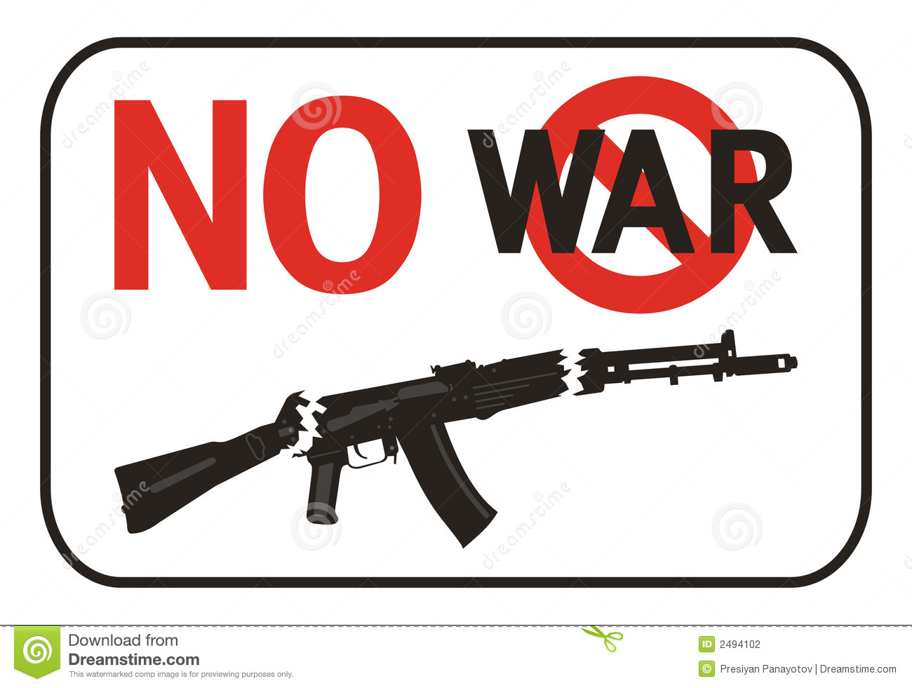 No War Placard Stock Photography - Image: 2494102