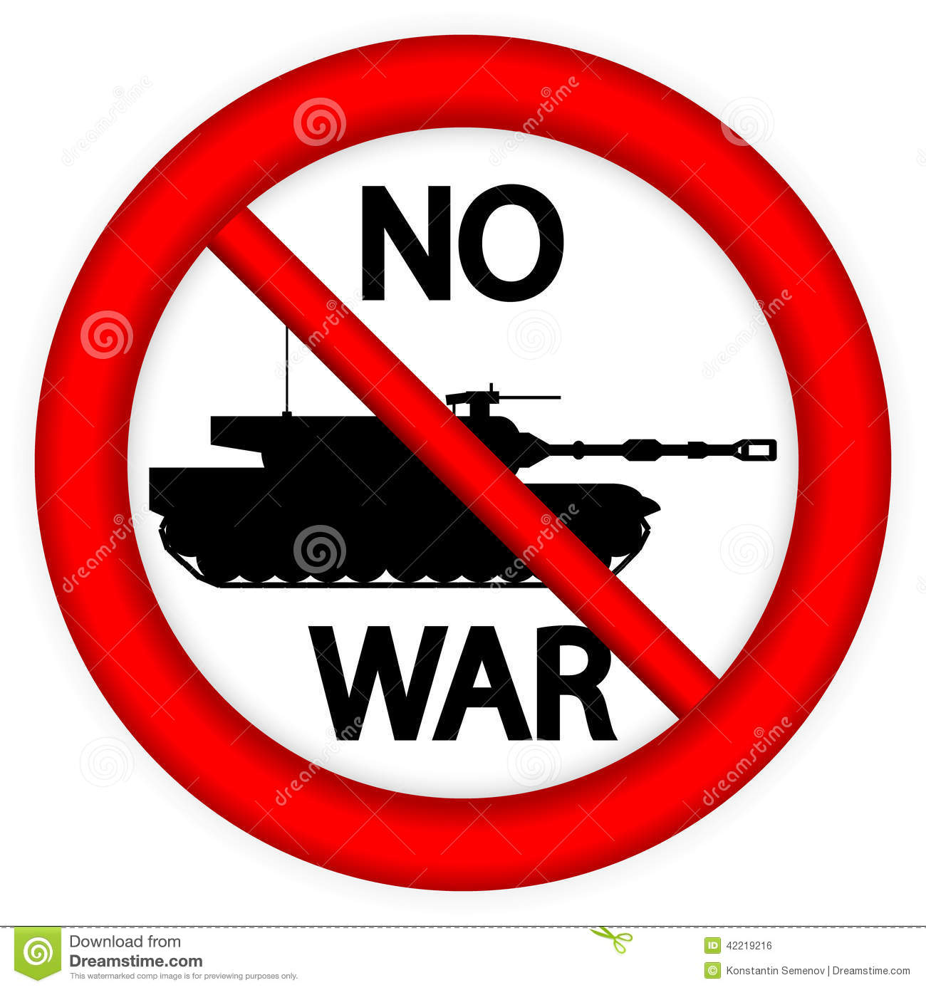 No War Sign With Modern Tank Stock Vector - Image: 42219216