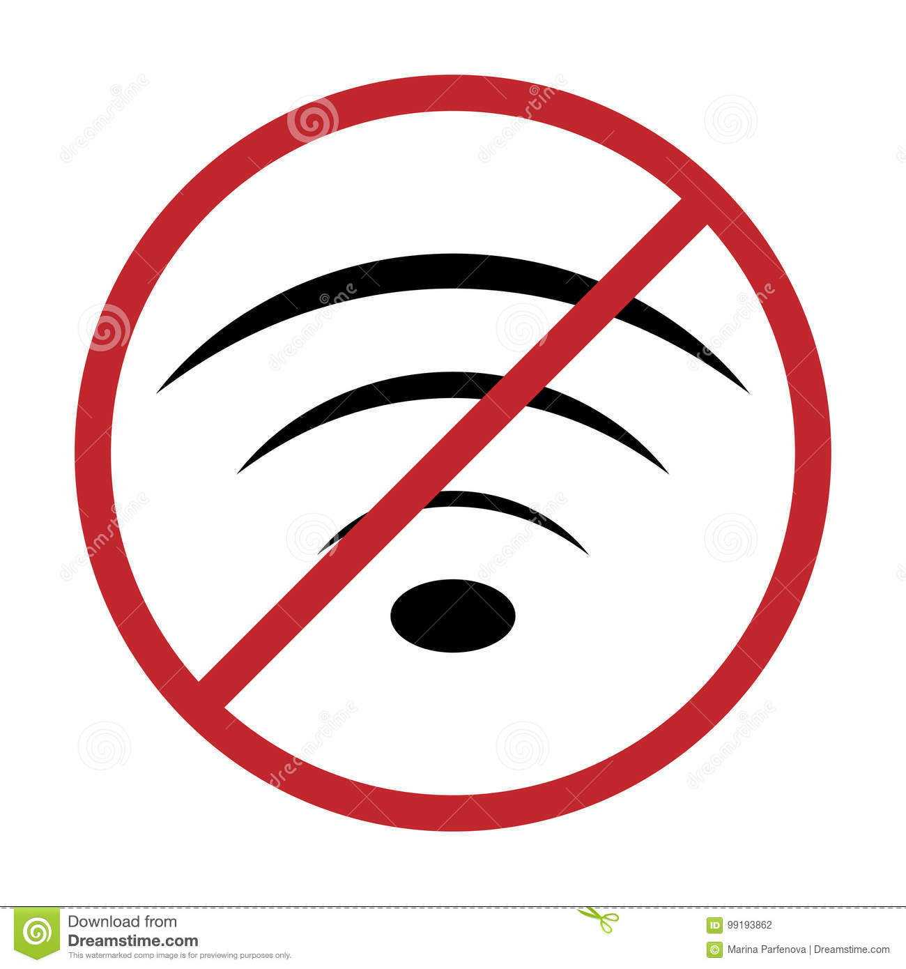 No Wifi Icon Vector Illustration Sign For Wifi Forbidden Areas