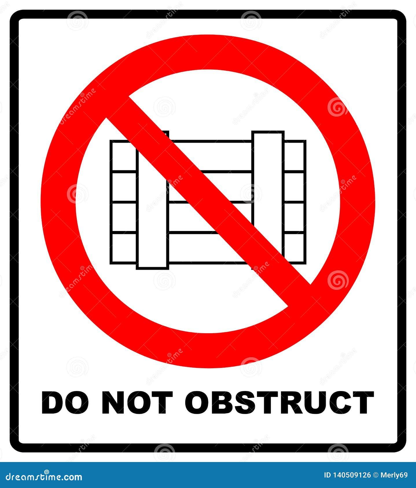 No zagradza, prohibicja znak Wyznaczający jasny teren, ilustracja