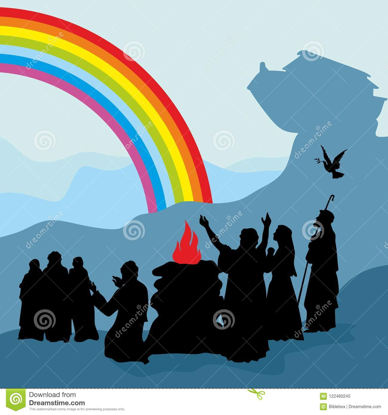 Noah And His Family See A Rainbow A Symbol Of Gods Covenant Stock