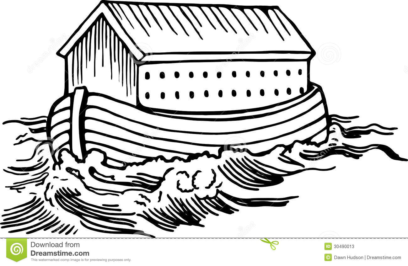 Simple black and white line drawing of Noahs ark boat floating on the ...