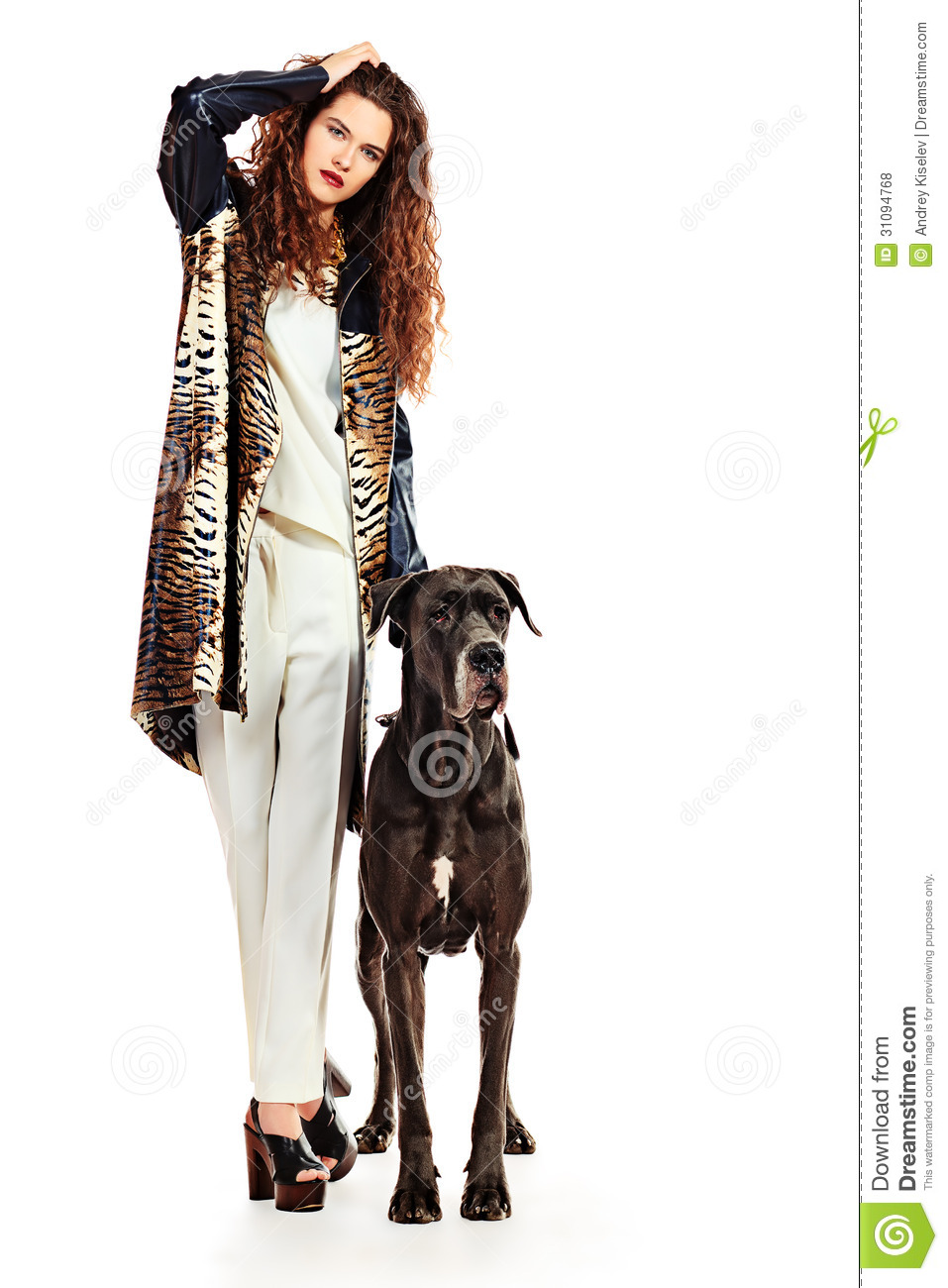of Beautiful Young Woman Posing With Her Great Dane Dog Isolated Over
