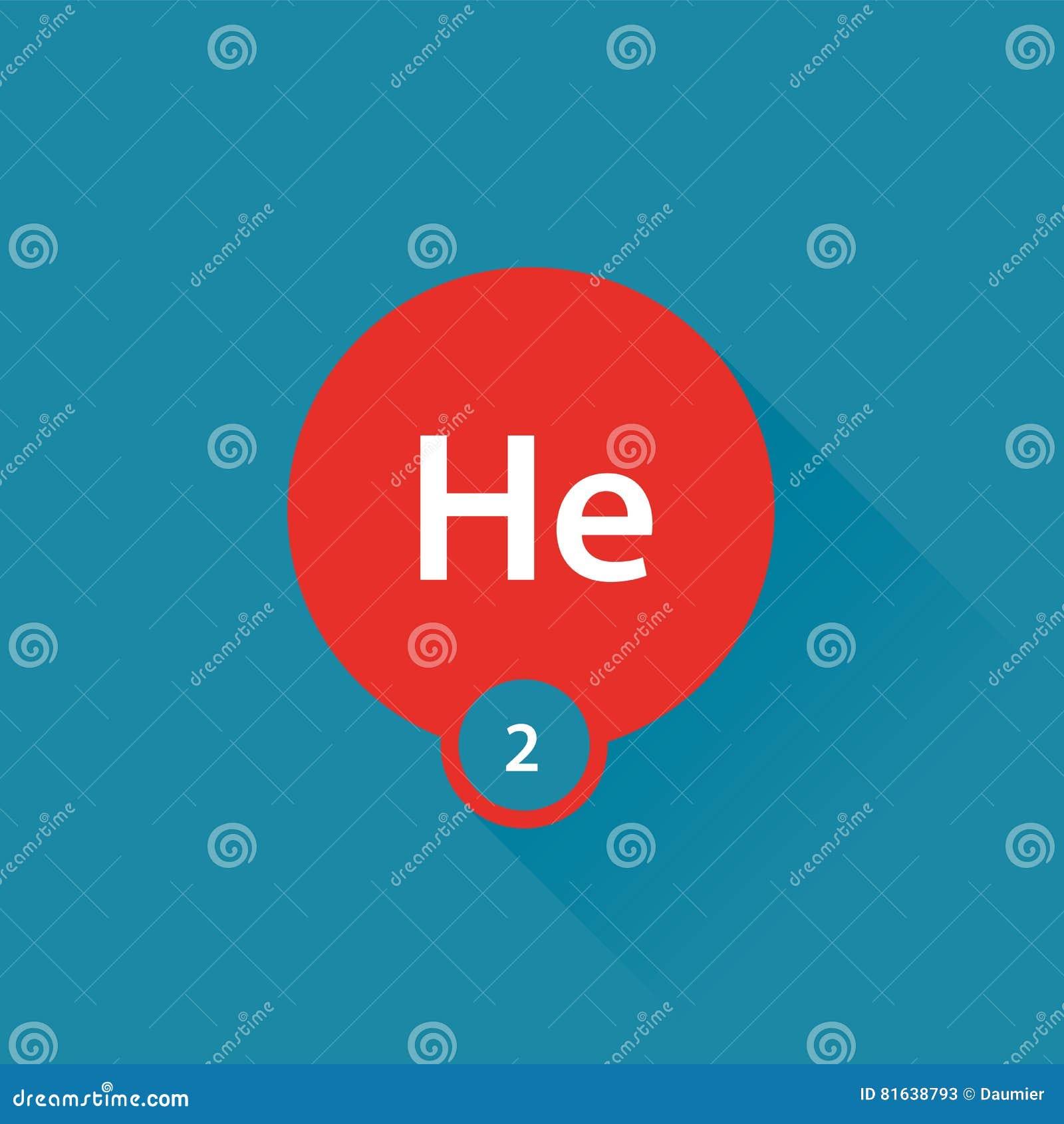 Noble Gas Helium Flat Icon Stock Vector Illustration Of Symbol