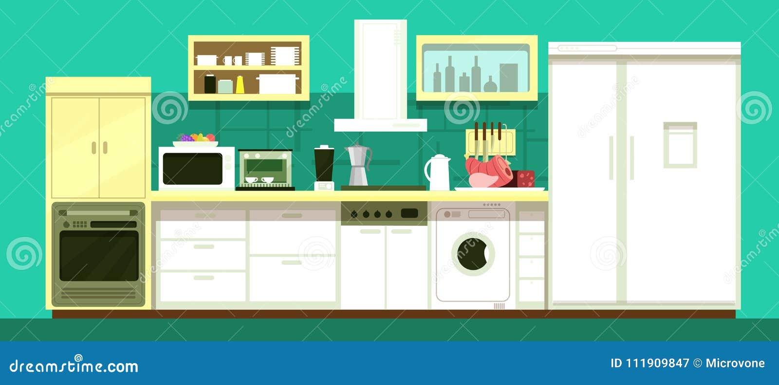 Nobody Cartoon Kitchen Room Vector Interior Stock Vector ...