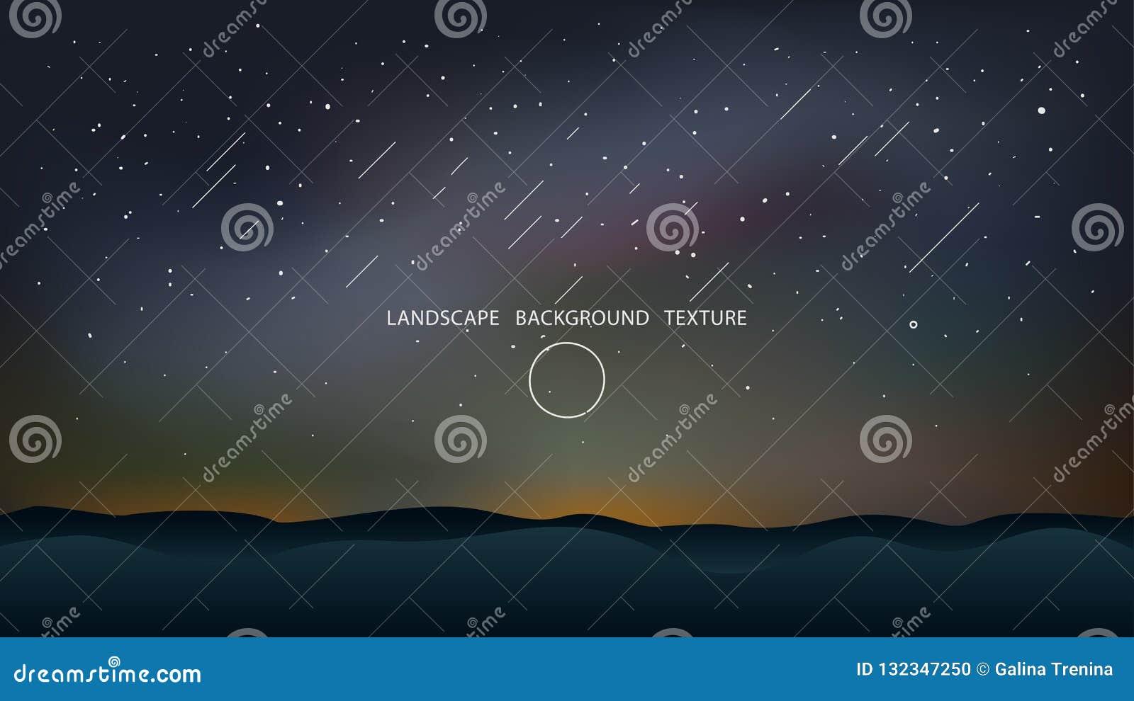 Noc krajobraz z wzgórzy i spada gwiazd wektoru ilustracją