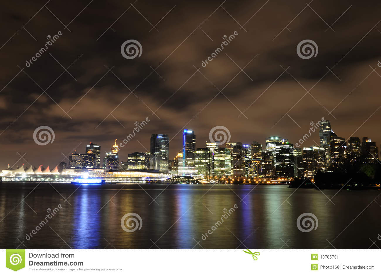Noc linia horyzontu Vancouver