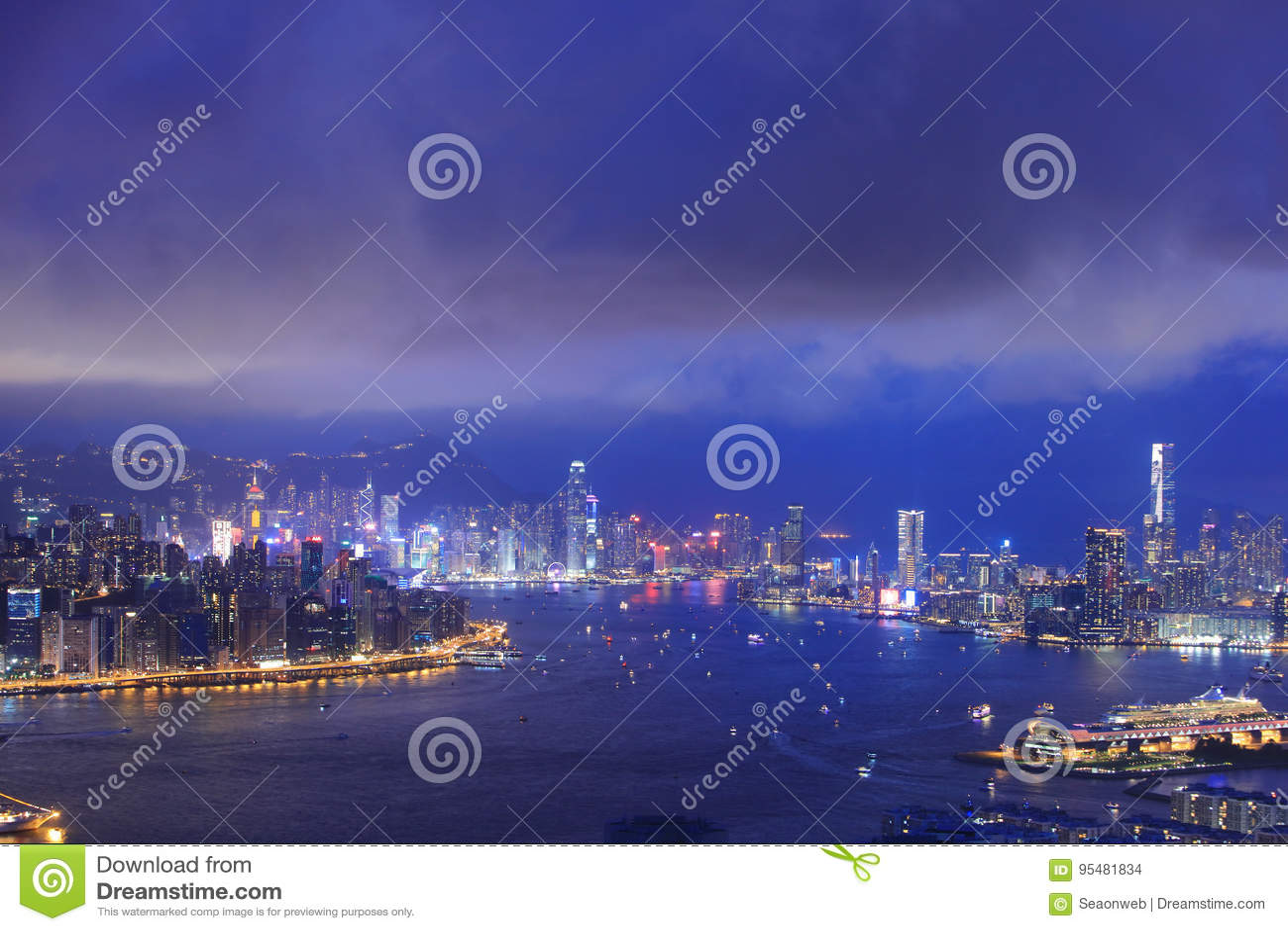 Noc widok Hong kong 2017