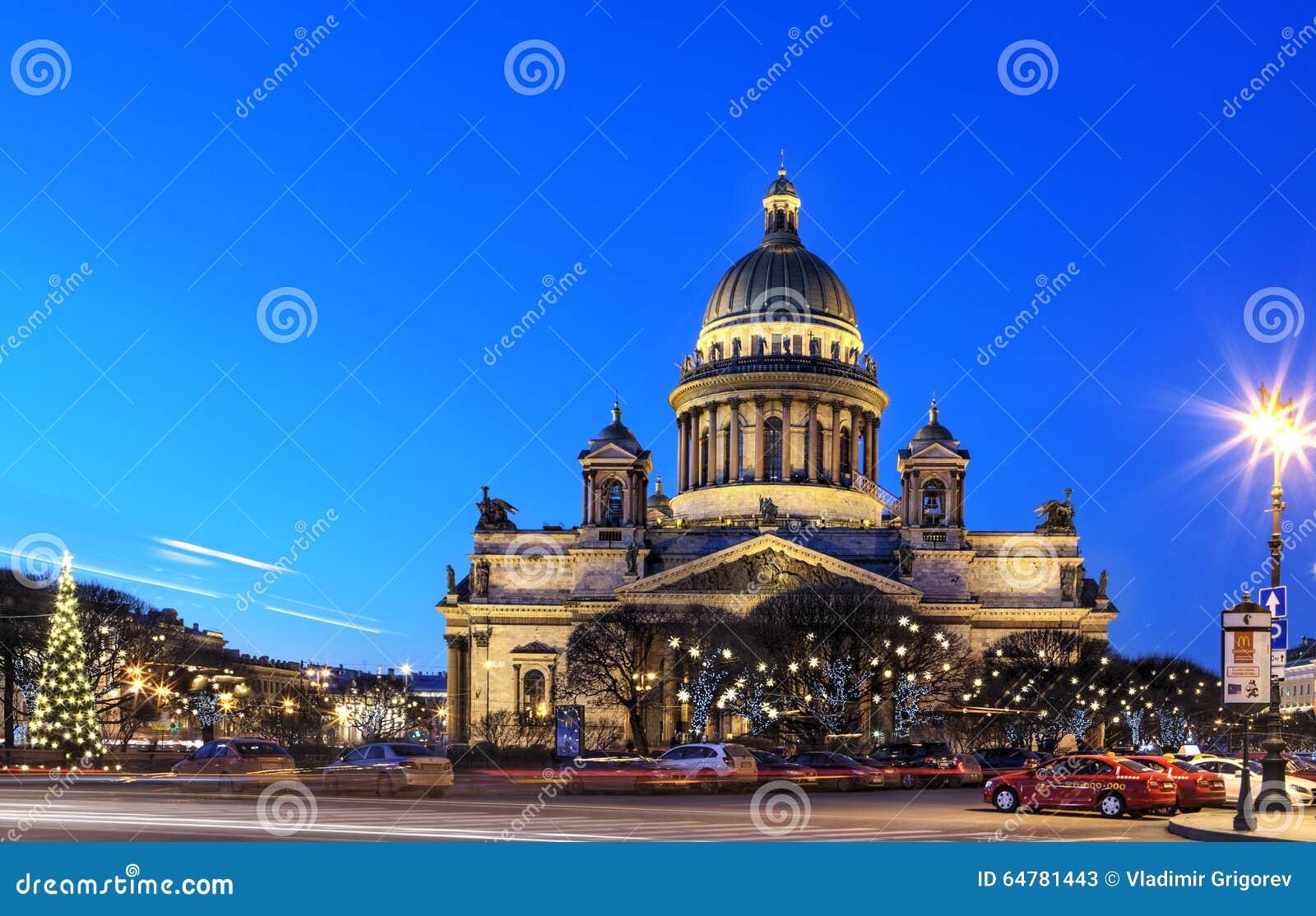 Noc widok St Isaac katedra w St Petersburg, Rosja