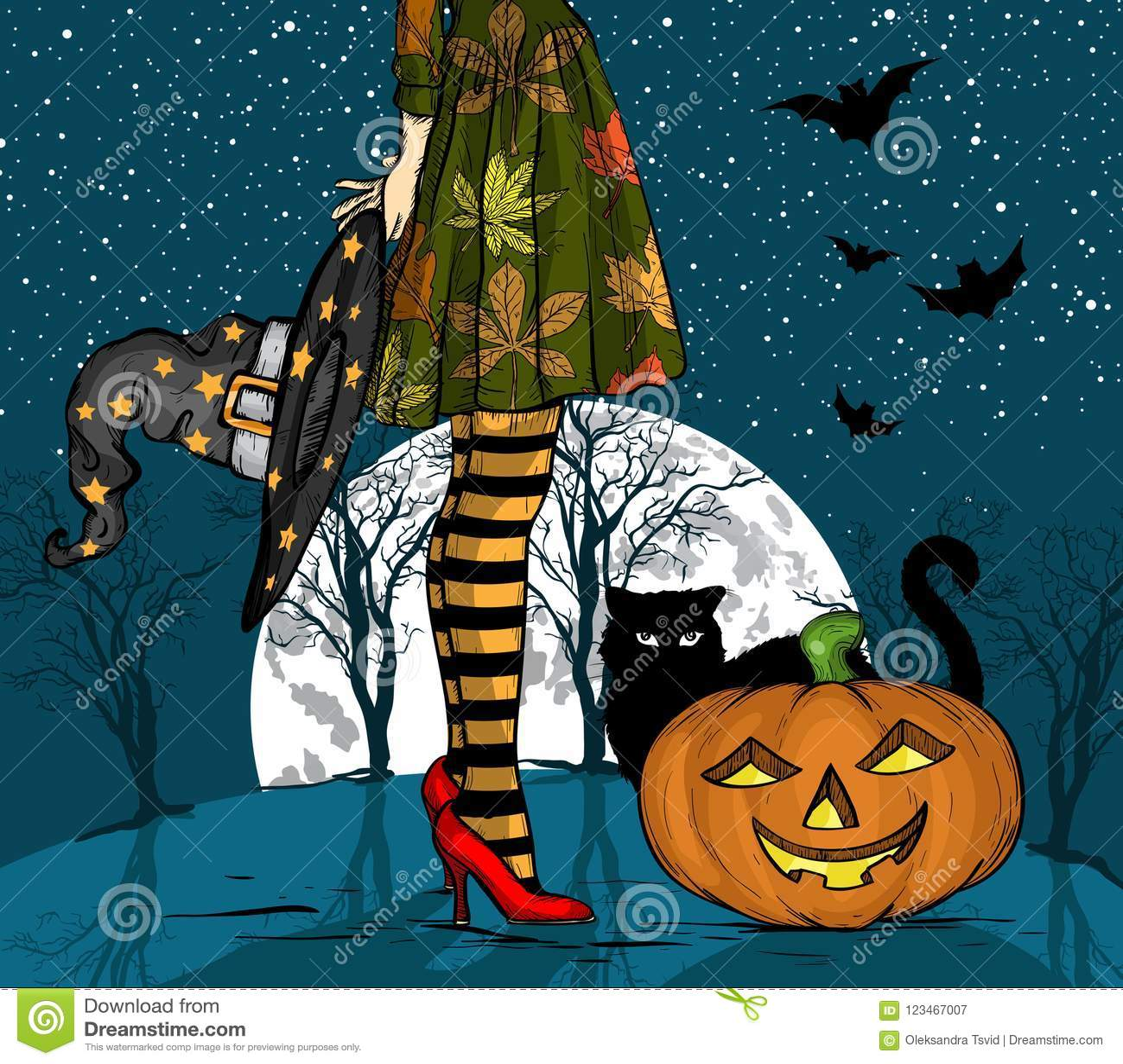 Noche de Halloween Bruja con el sombrero del mago a disposición, el gato negro y la calabaza, luna grande en fondo