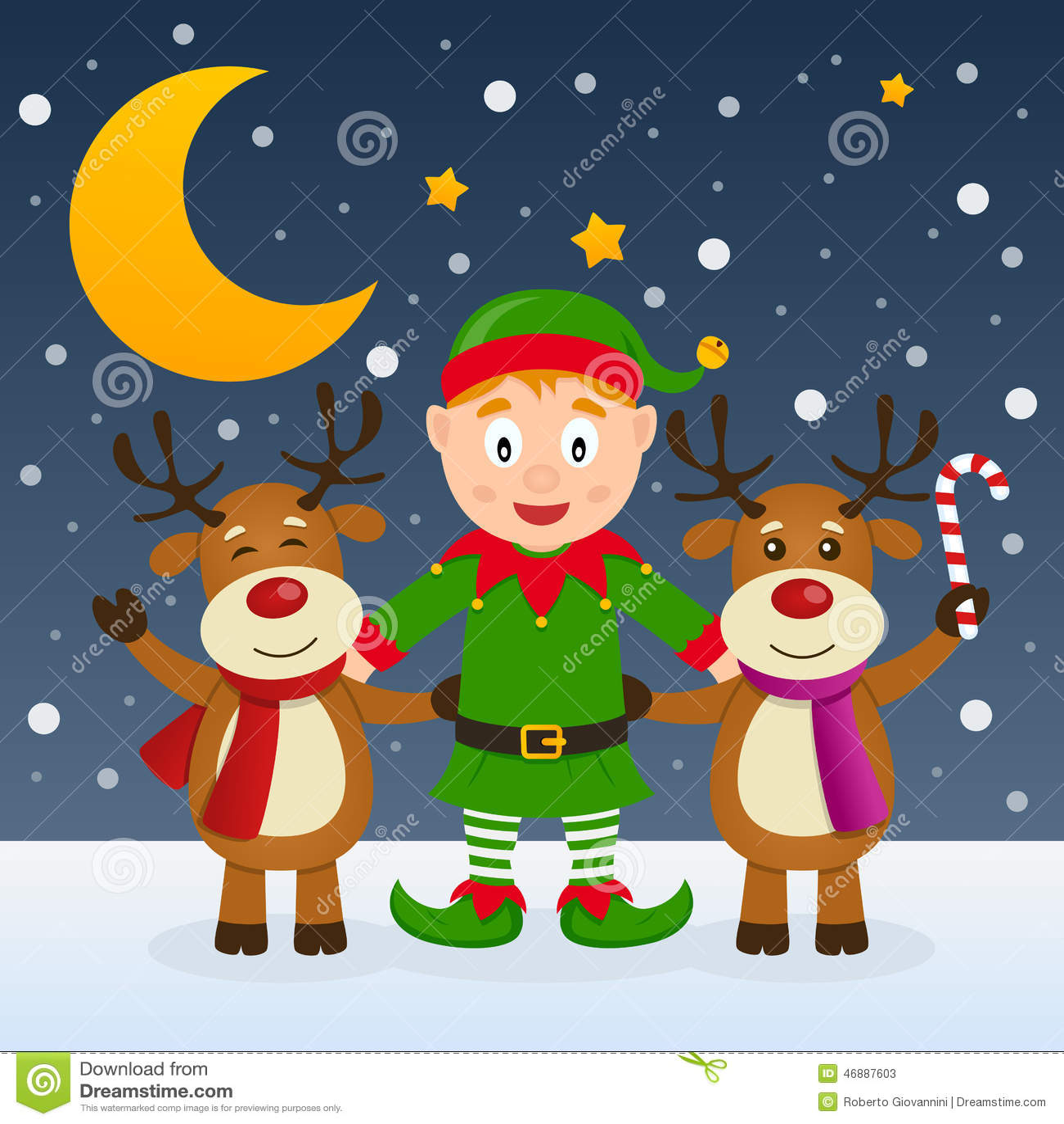 Noche de la Navidad con el duende y el reno