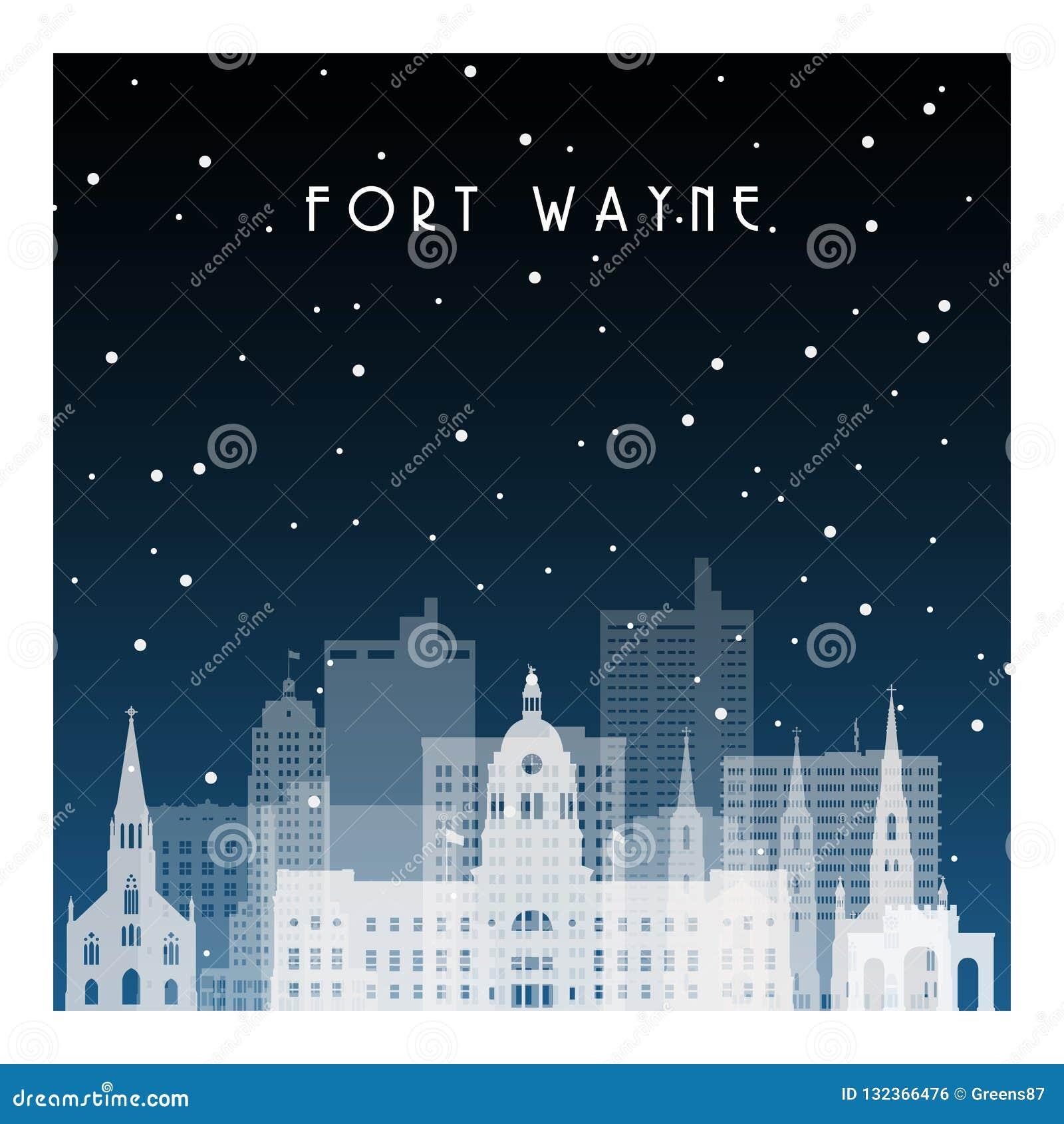 Noche del invierno en Fort Wayne