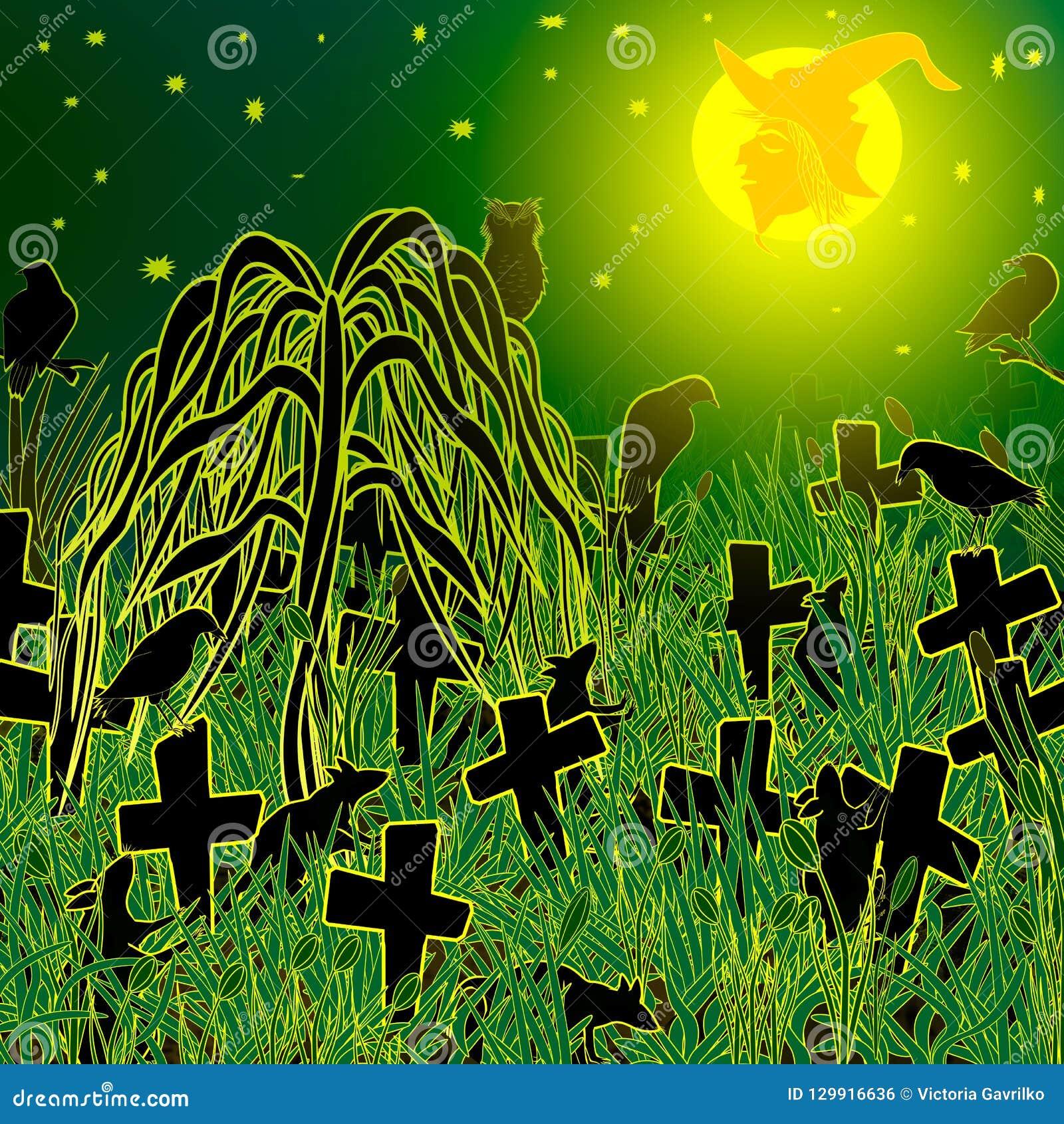 Noche en Halloween abandonado en el cementerio