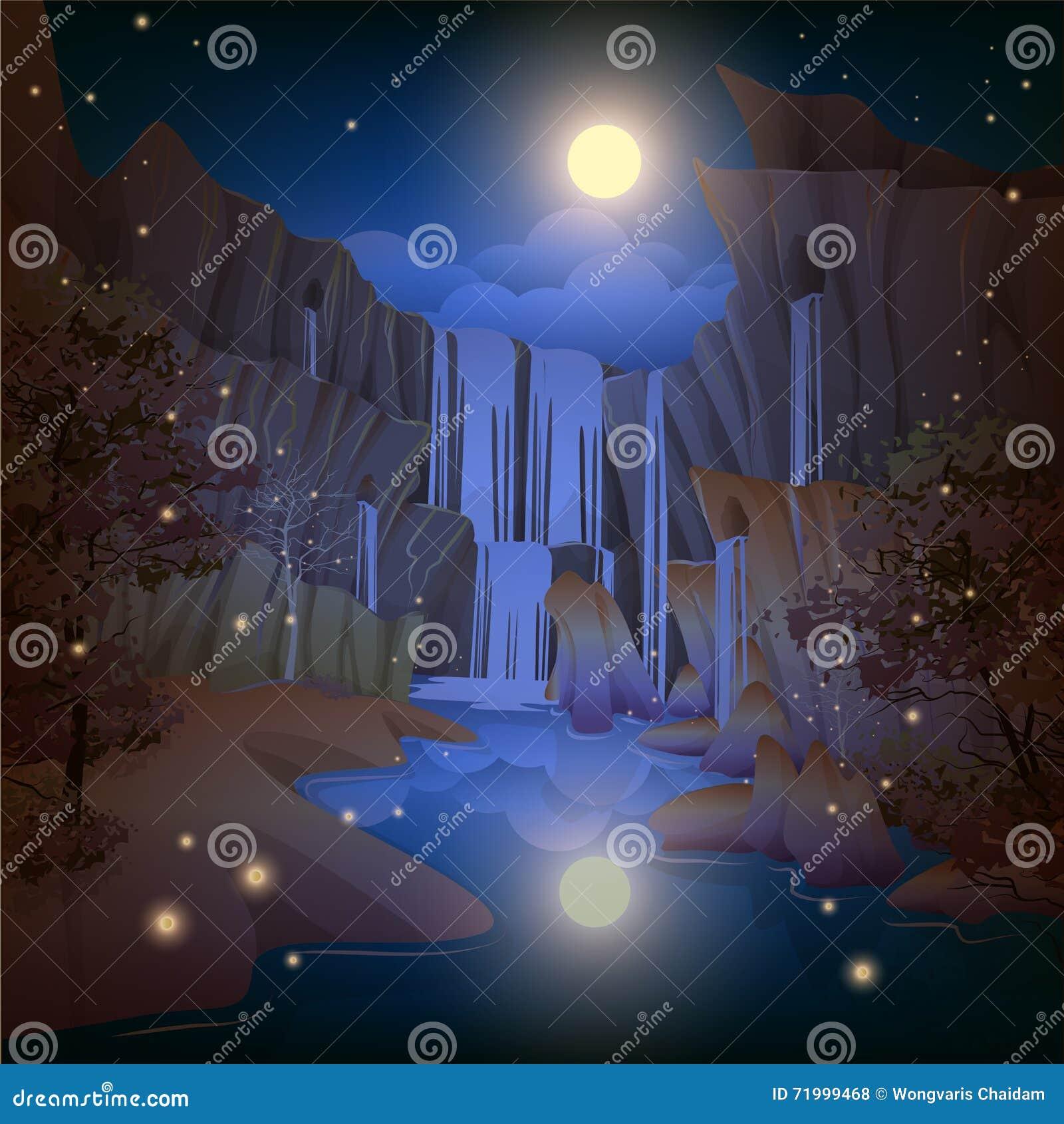 Noche hermosa de las cascadas
