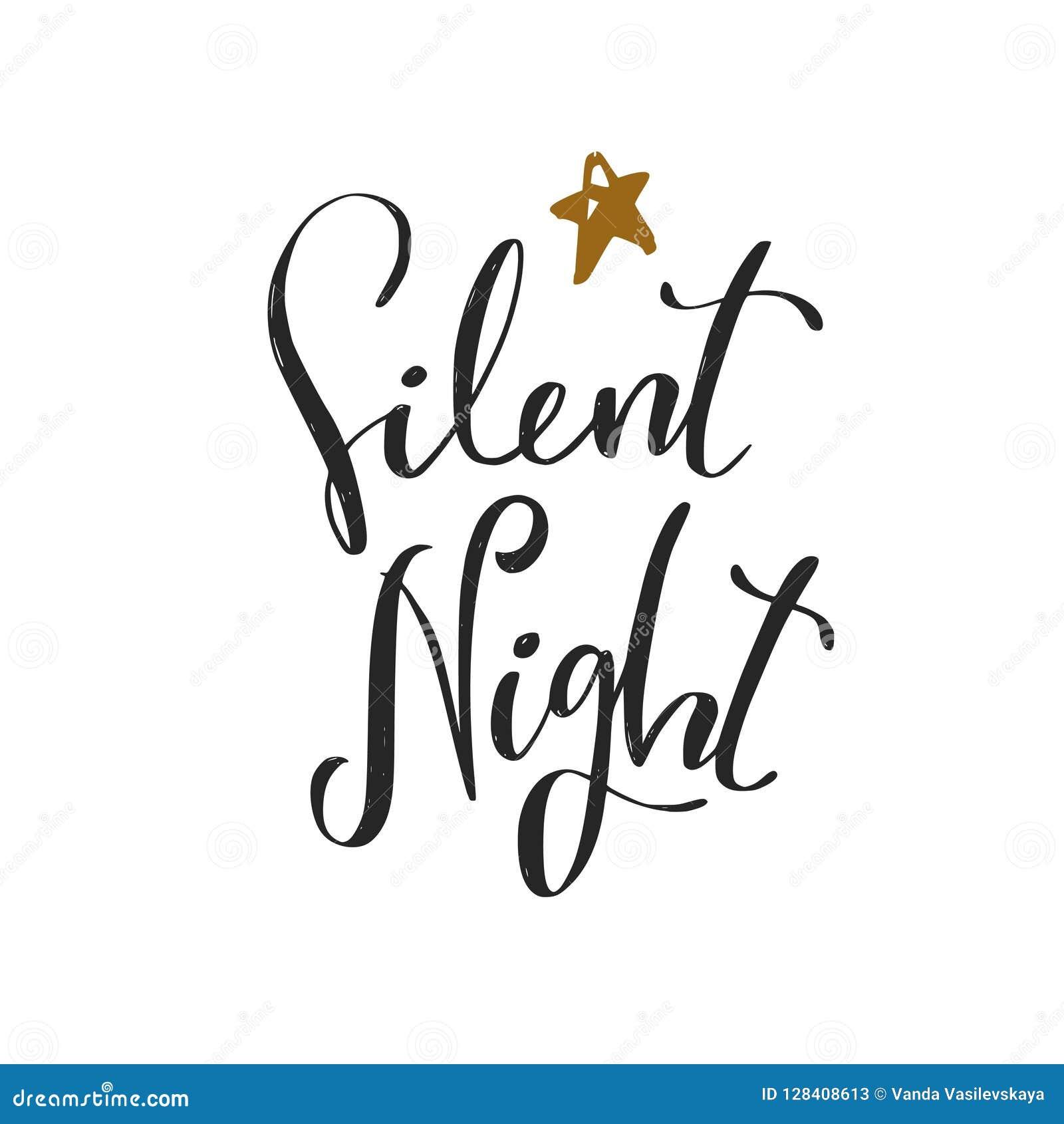 Noche Silenciosa Frase De La Caligrafía De La Navidad Y Del