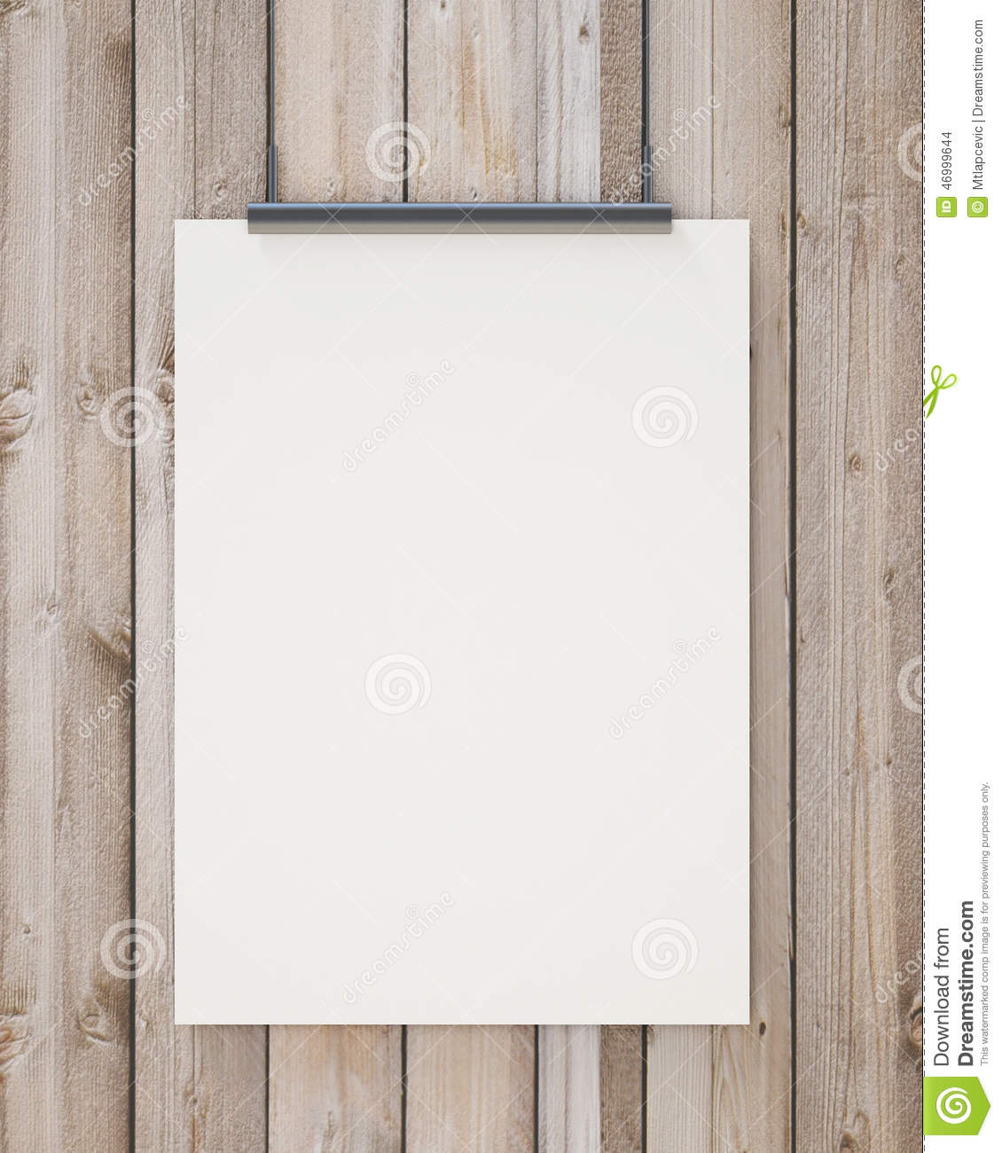 Nock up blank white hanging poster on vertical wooden planks wall, background