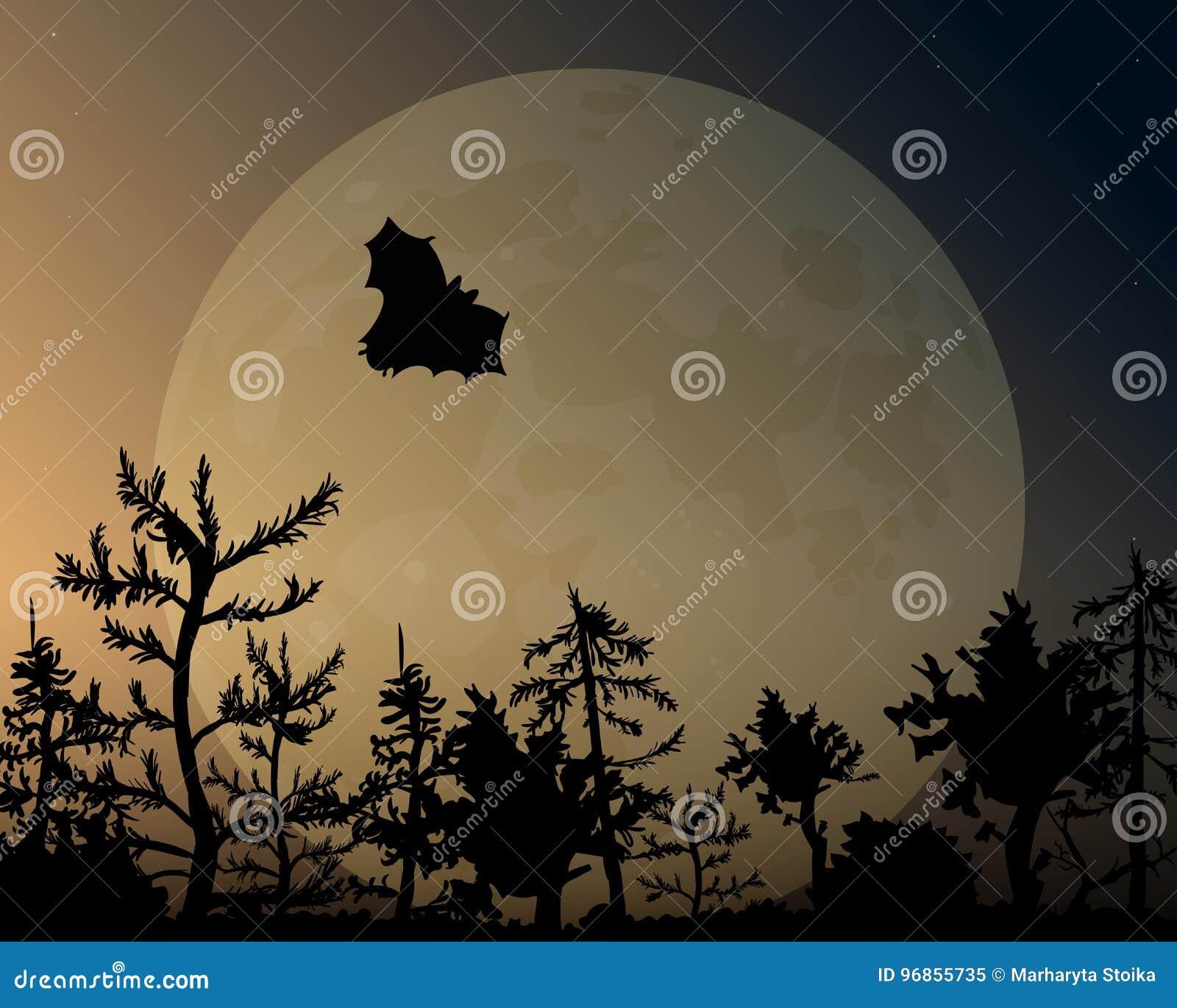 Nocne niebo z łuną i księżyc Nietoperz lata nad lasem