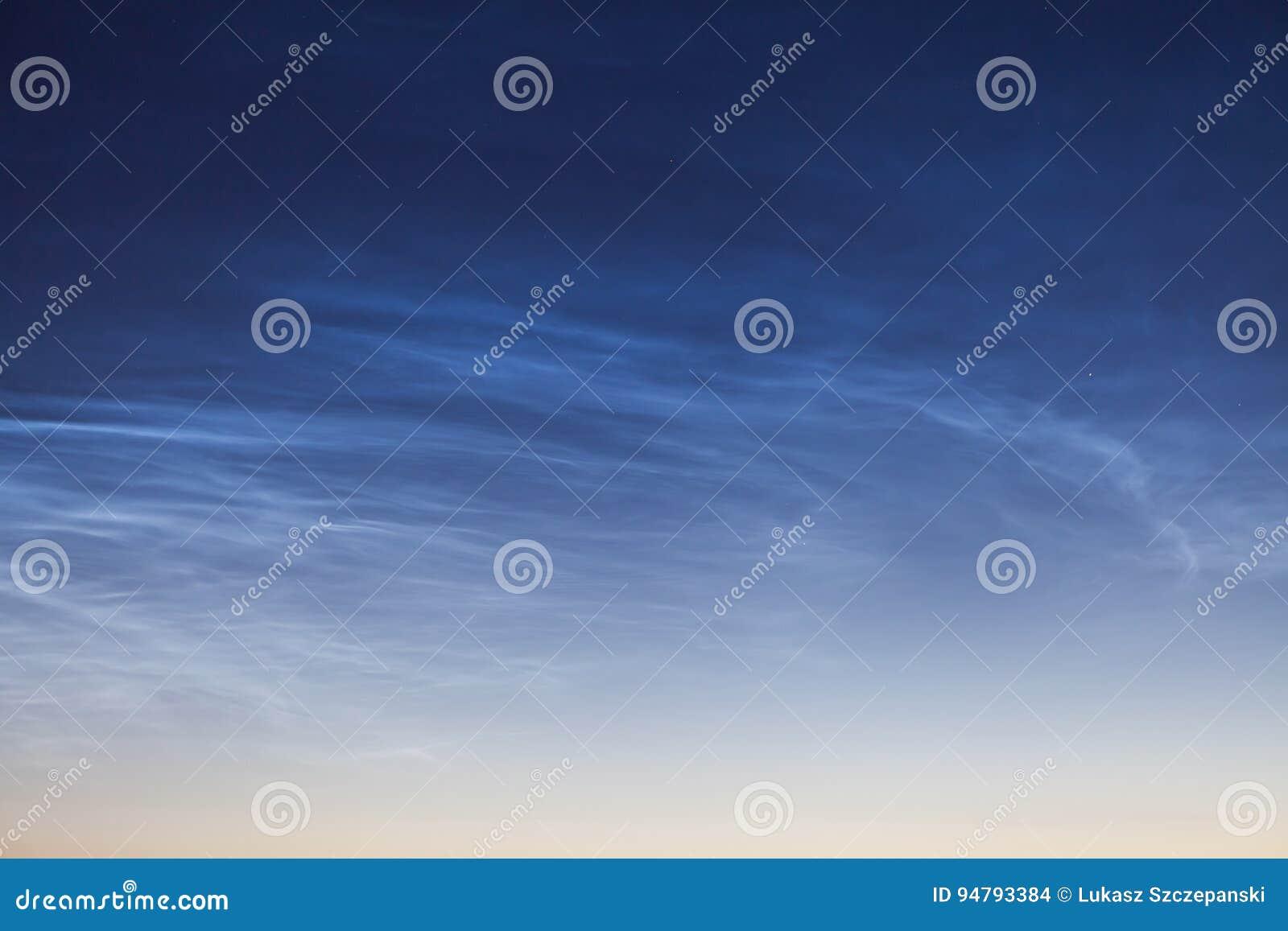 Noctilucent moln NLC, nattmoln, molnlika fenomen i mesosphere