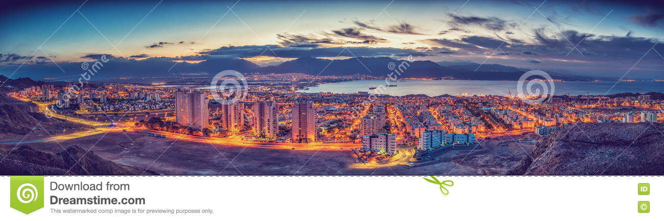 Nocturnal panorama. Eilat and Aqaba. Gulf of Aqaba, Red Sea