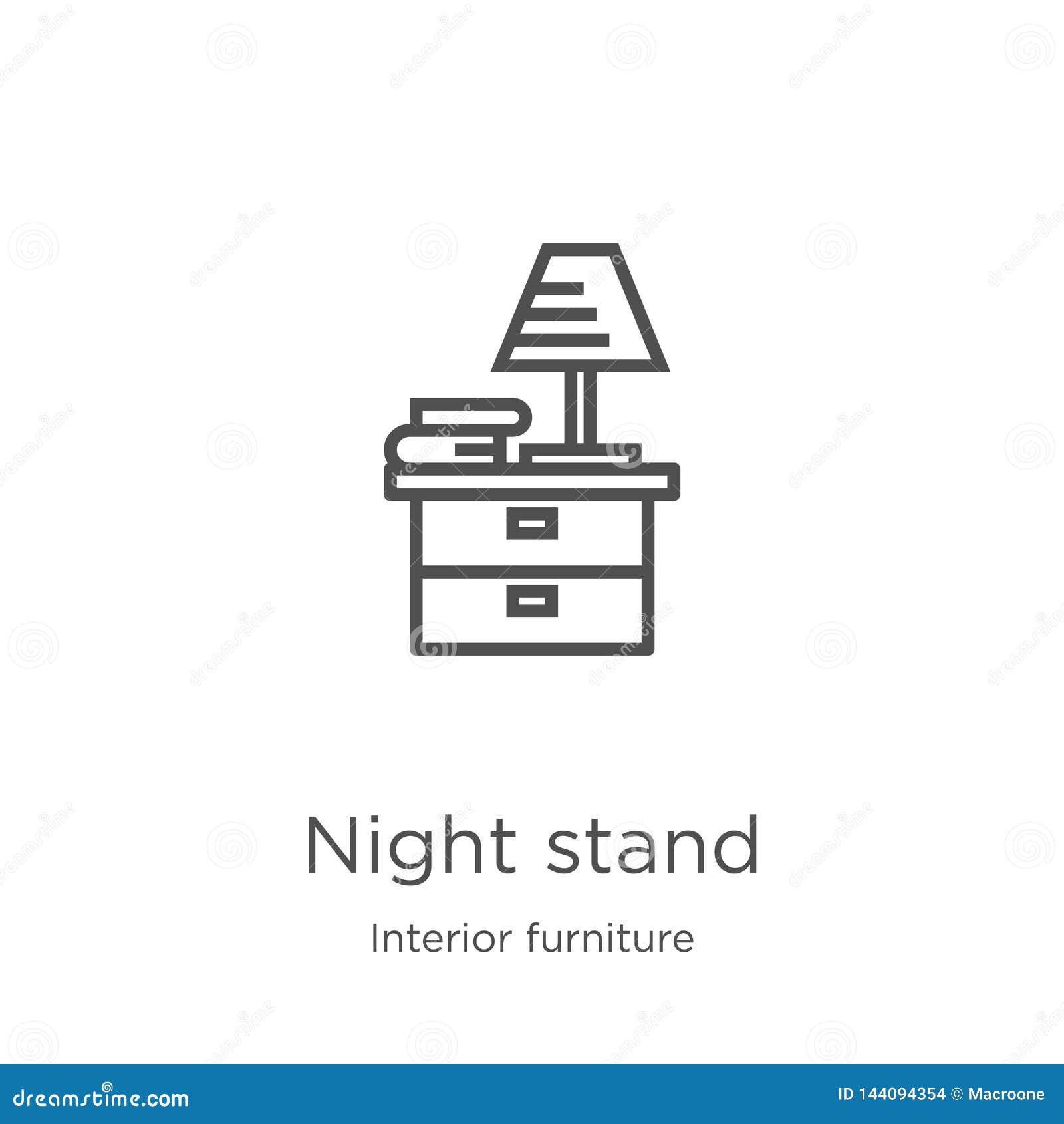 Nocy ikony statywowy wektor od wewnętrznej meblarskiej kolekcji Cienka kreskowa noc stojaka konturu ikony wektoru ilustracja Kont