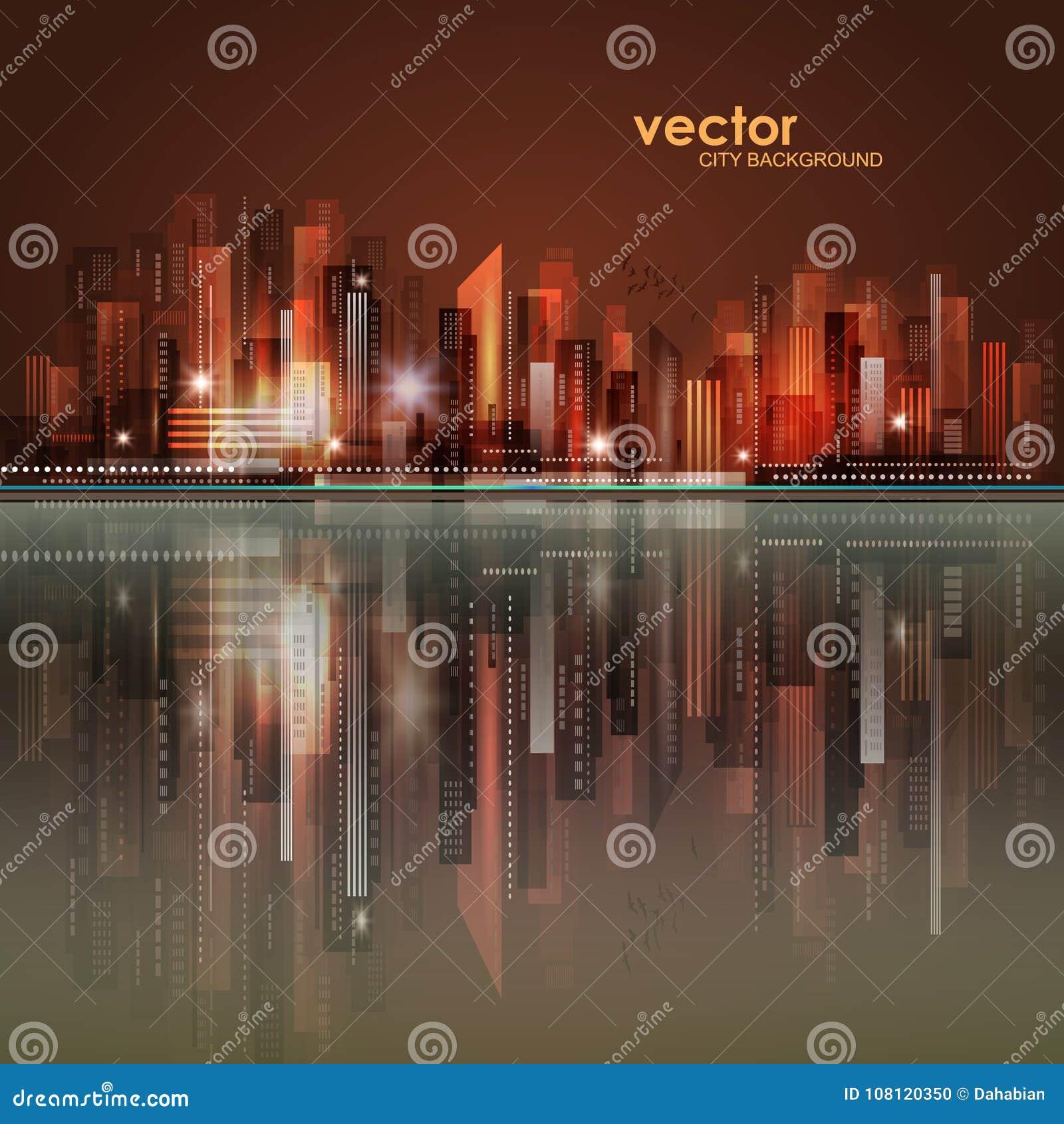 Nocy miasta linia horyzontu z odbiciem w wodzie również zwrócić corel ilustracji wektora