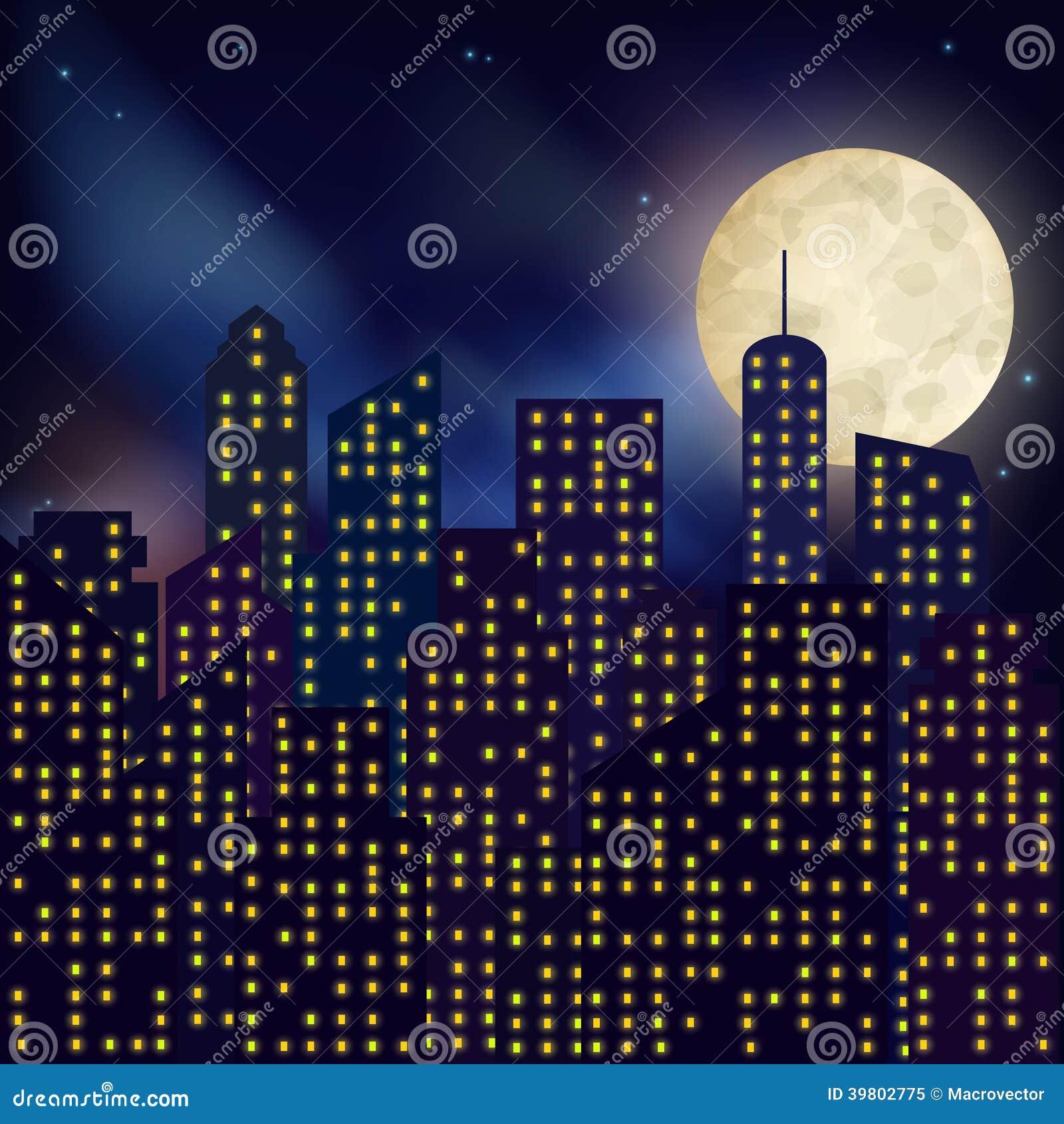 Nocy Miasta Plakat Ilustracja Wektor Ilustracja Złożonej Z