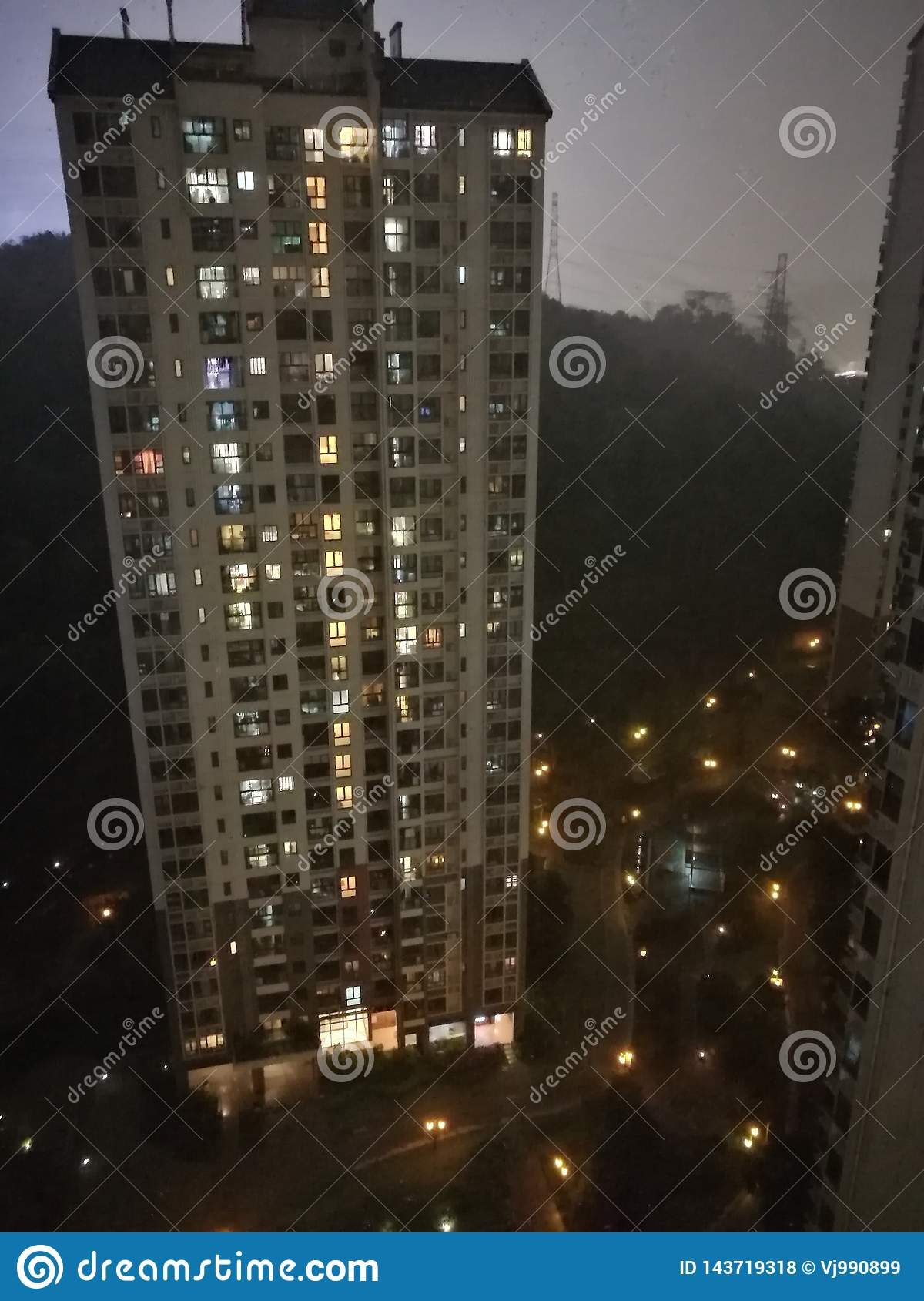 Nocy miasto Guangzhou Chiny