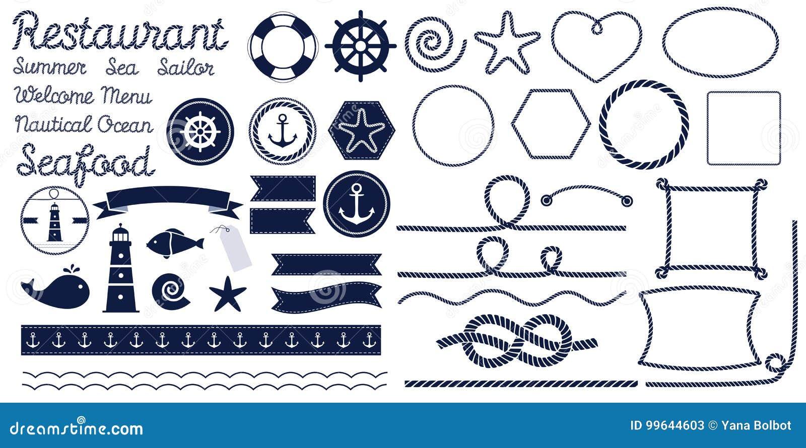 Nodi della corda Nodo marino della corda Insieme dei nodi, degli angoli e dei telai nautici della corda