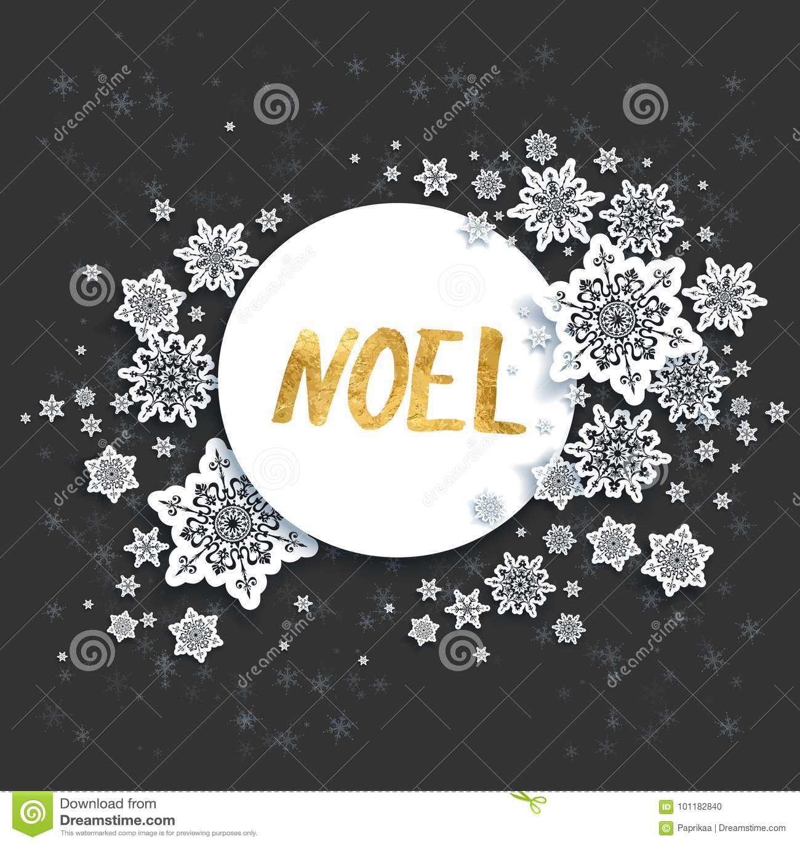 Noel Black Christmas Card Stock Vector Illustration Of Message
