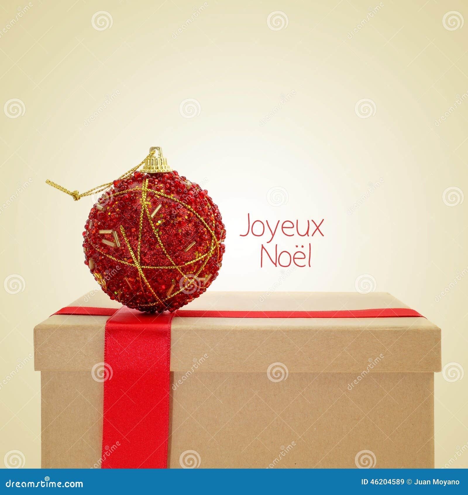 Noel De Joyeux Feliz Natal Em Francês Com Um Efeito Retro