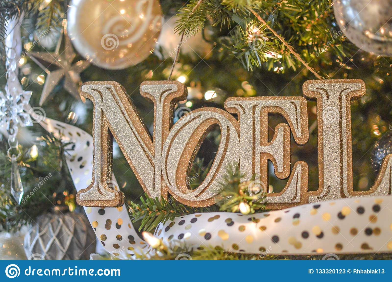 Noel Gold Christmas Tree Ornament Stock Image Image Of Merry Star 133320123