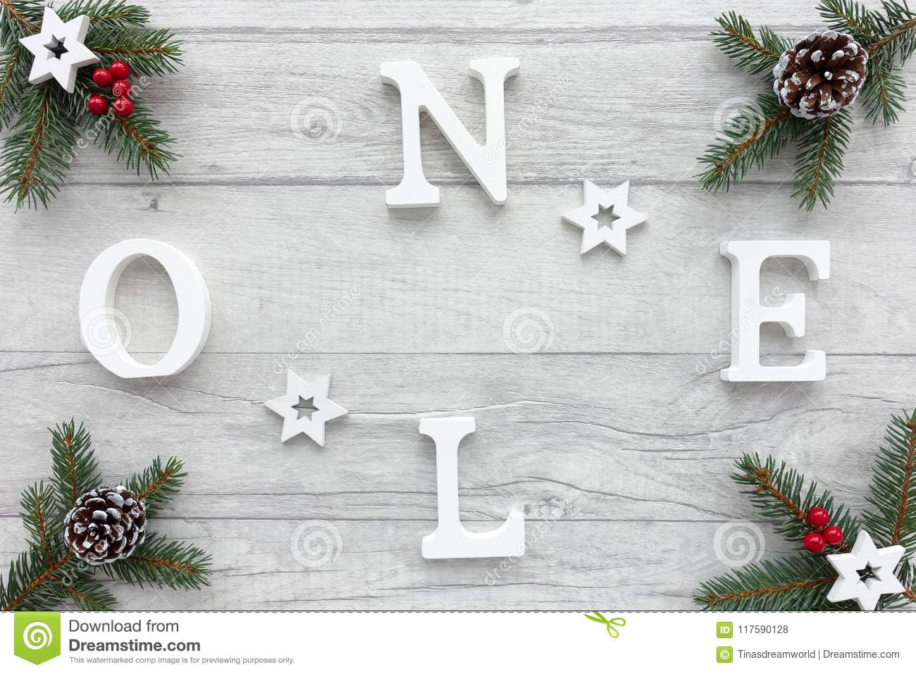 Noel Written On Christmas Background With Christmas Decoration Stock