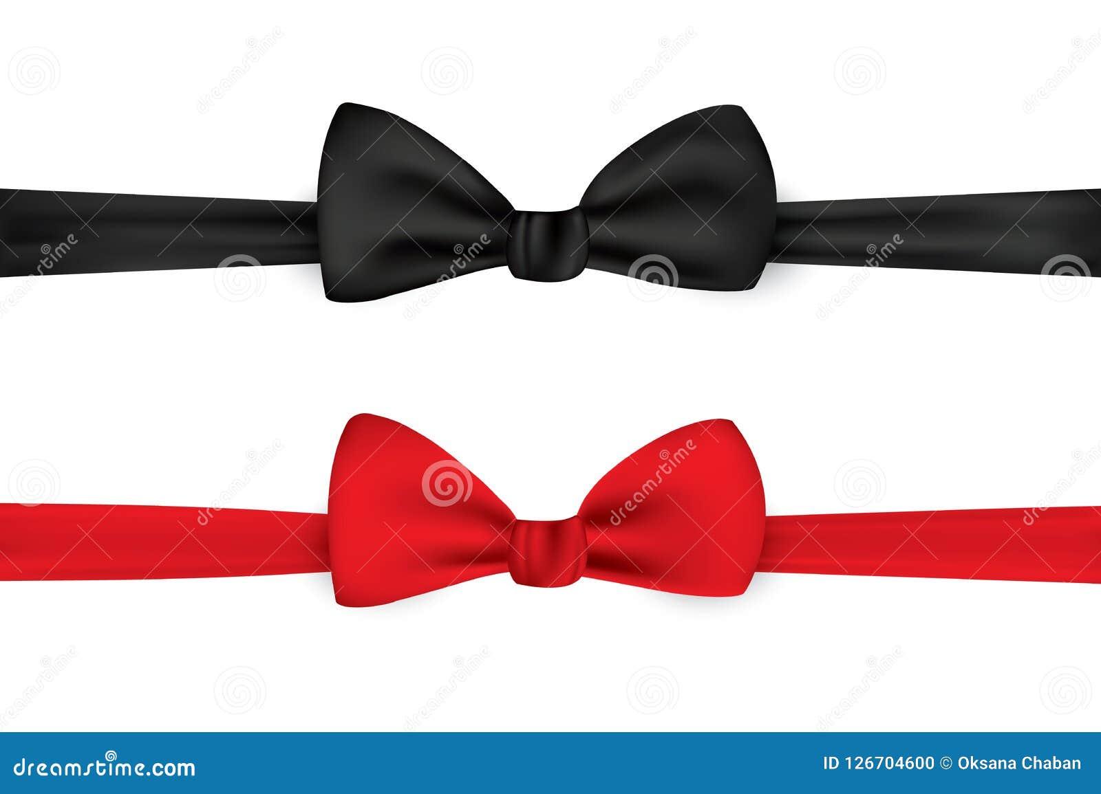Noeud papillon noir et rouge, illustration réaliste de vecteur, d isolement sur le fond blanc Arc élégant de cou Accessoires pour